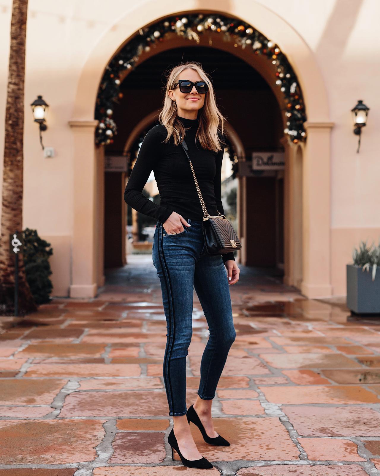 Fashion-Jackson-Wearing-Black-Turtleneck-Denim-Skinny-Jeans-Black-Pumps-Chanel-Boy-Bag