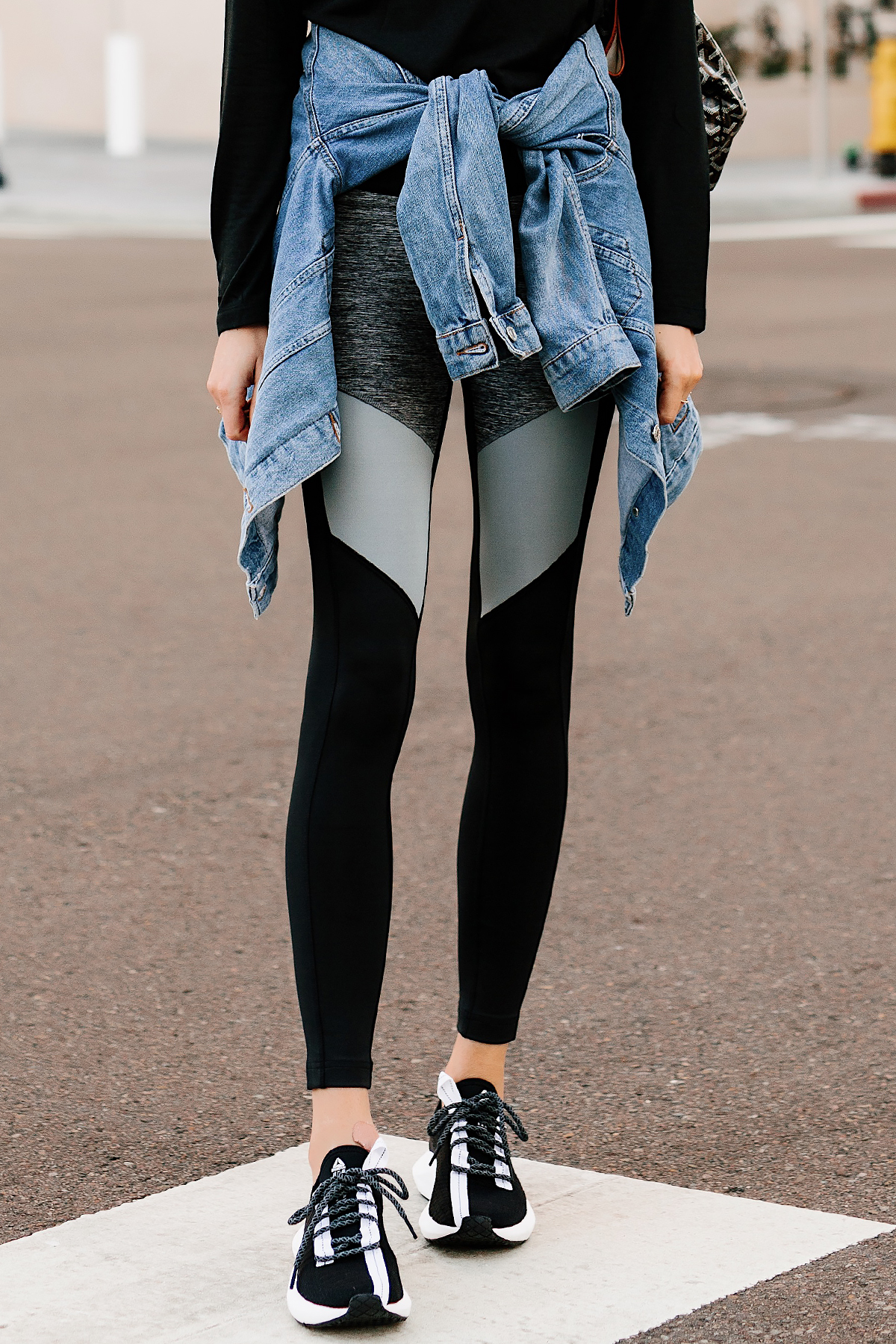 Woman Wearing Denim Jacket Reebok Colorblock Black Leggings Reebok Sole Fury Sneakers Fashion Jackson San Diego Fashion Blogger Street Style Athleisure Outfit