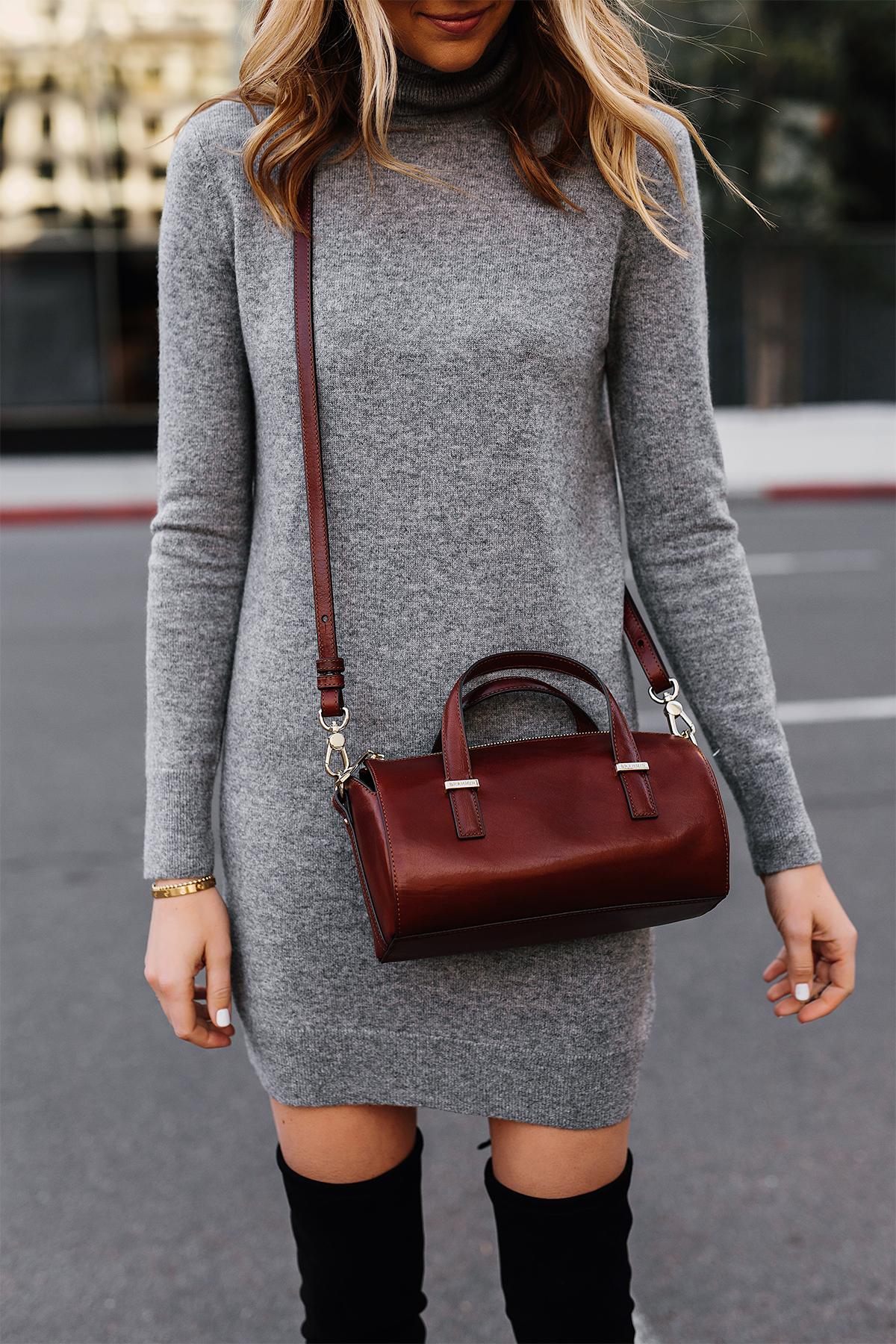 Blonde Woman Wearing Grey Turtleneck Sweater Dress Brahmin Brown Crossbody Fashion Jackson San Diego Fashion Blogger Street Style