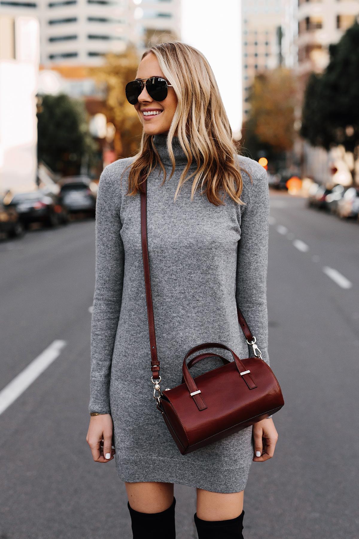 Blonde Woman Wearing Grey Turtleneck Sweater Dress Brahmin Crossbody Fashion Jackson San Diego Fashion Blogger Street Style