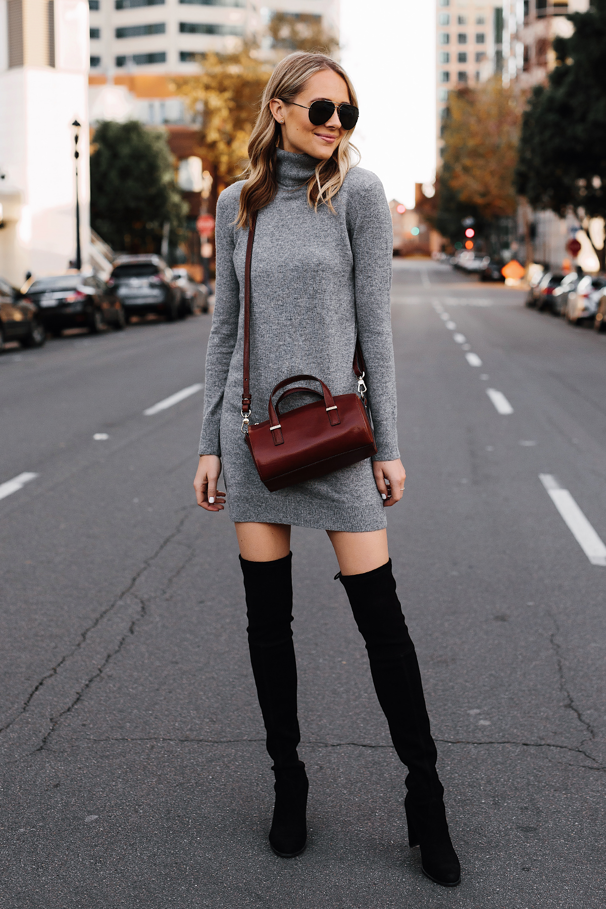 Blonde Woman Wearing Grey Turtleneck Sweater Dress Stuart Weitzman Black Over the Knee Boots Brahmin Brown Crossbody Fashion Jackson San Diego Fashion Blogger Street Style