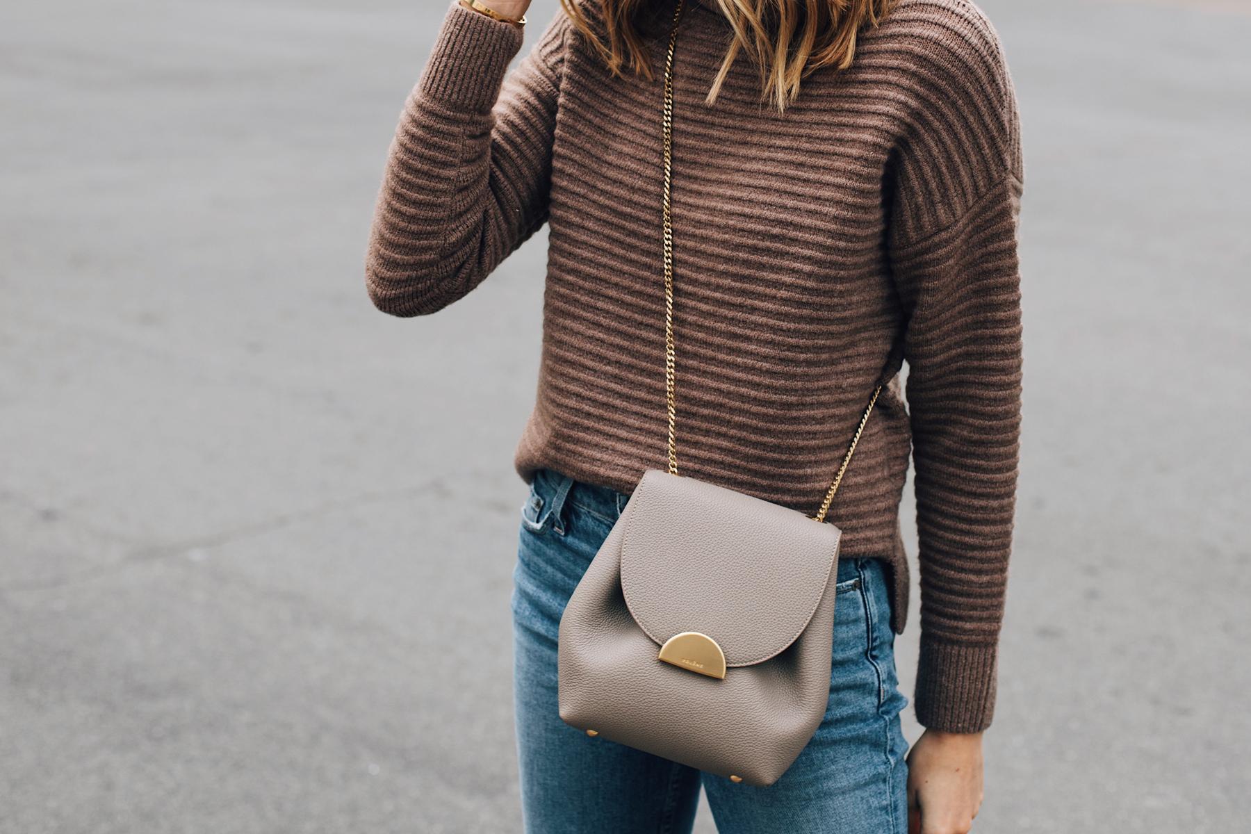 Woman Wearing Madewell Brown Sweater Polene Grey Handbag Fashion Jackson San Diego Fashion Blogger Street Style