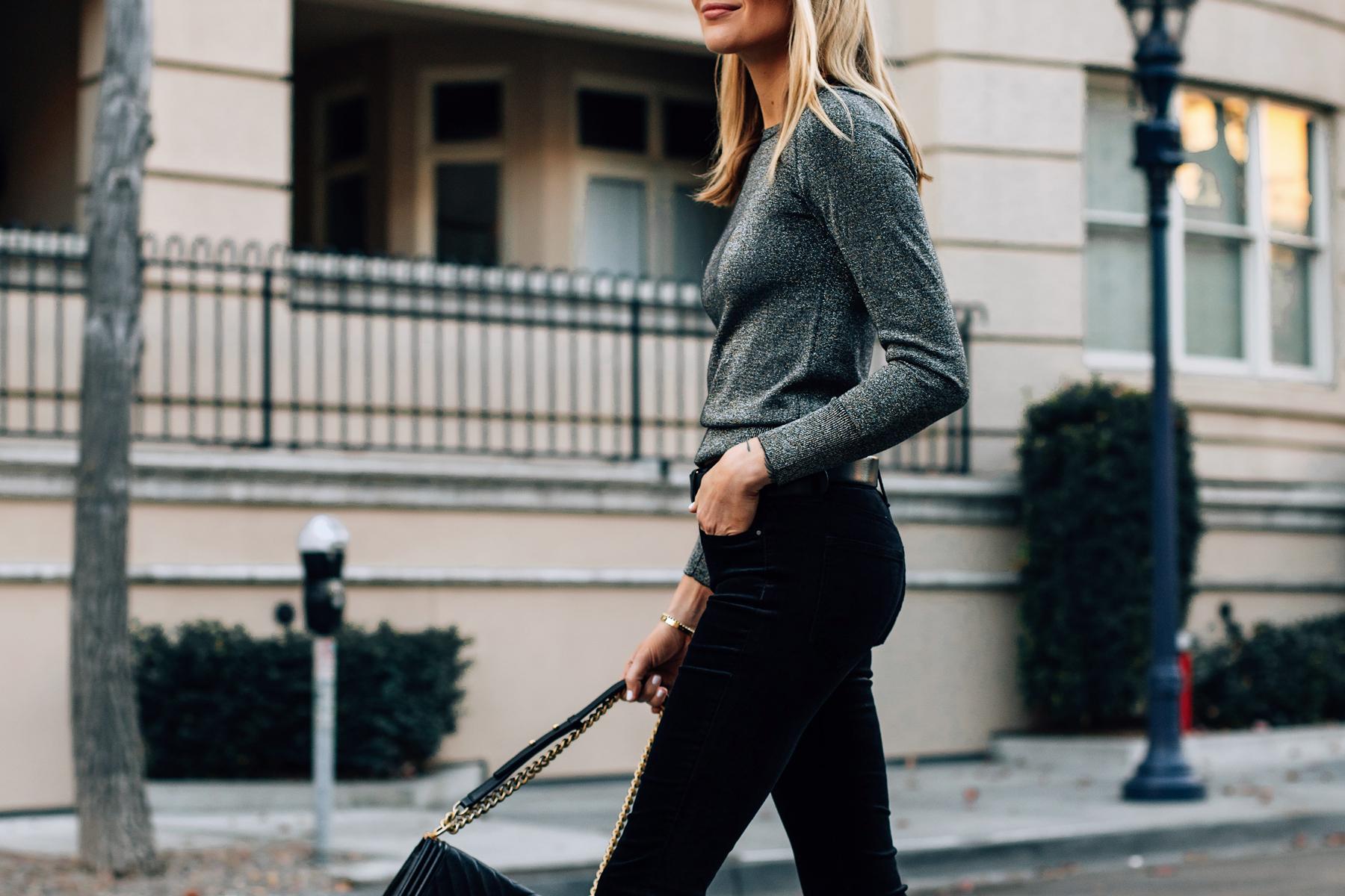 Blonde Wearing Metallic Sweater Black Velvet Jeans Fashion Jackson San Diego Fashion Blogger Street Style