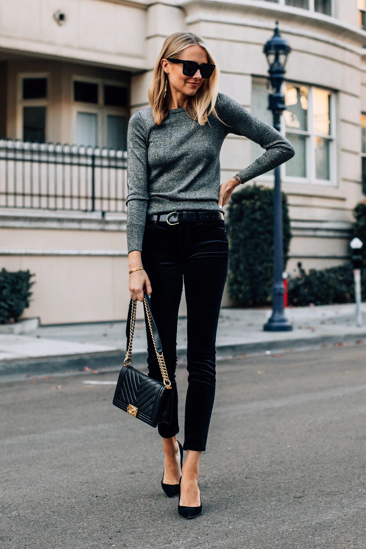 Blonde Woman Wearing Metallic Sweater Black Velvet Jeans Black Pumps Chanel Black Boy Bag Fashion Jackson San Diego Fashion Blogger Street Style