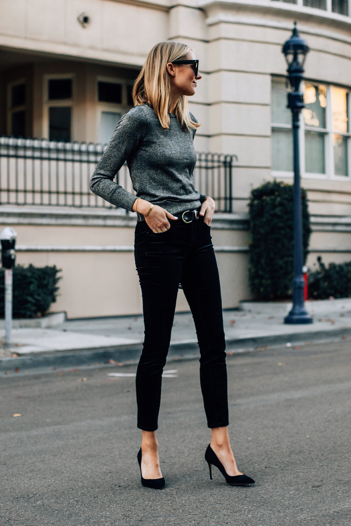 Blonde Woman Wearing Metallic Sweater Black Velvet Jeans Black Suede Pumps Fashion Jackson San Diego Fashion Blogger Street Style