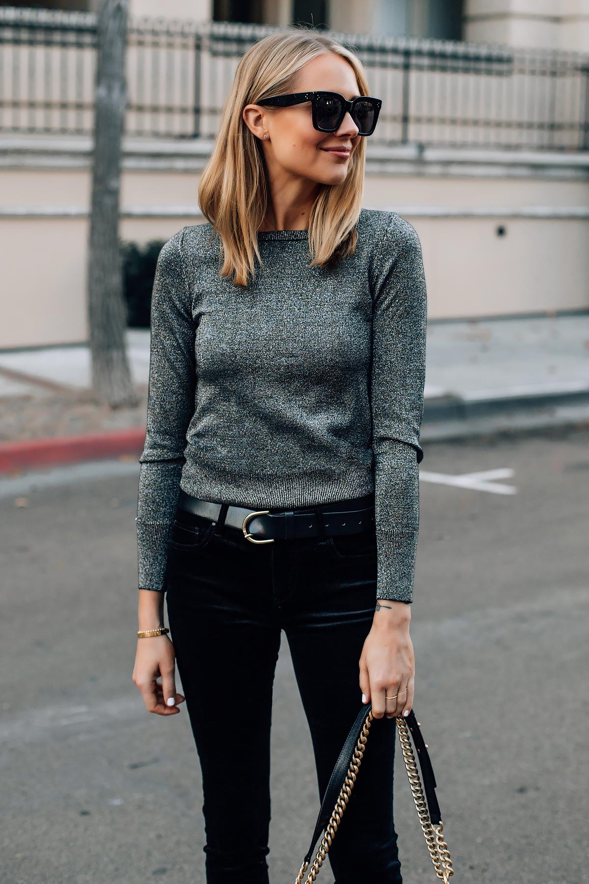 Blonde Woman Wearing Metallic Sweater Black Velvet Jeans Fashion Jackson San Diego Fashion Blogger Street Style