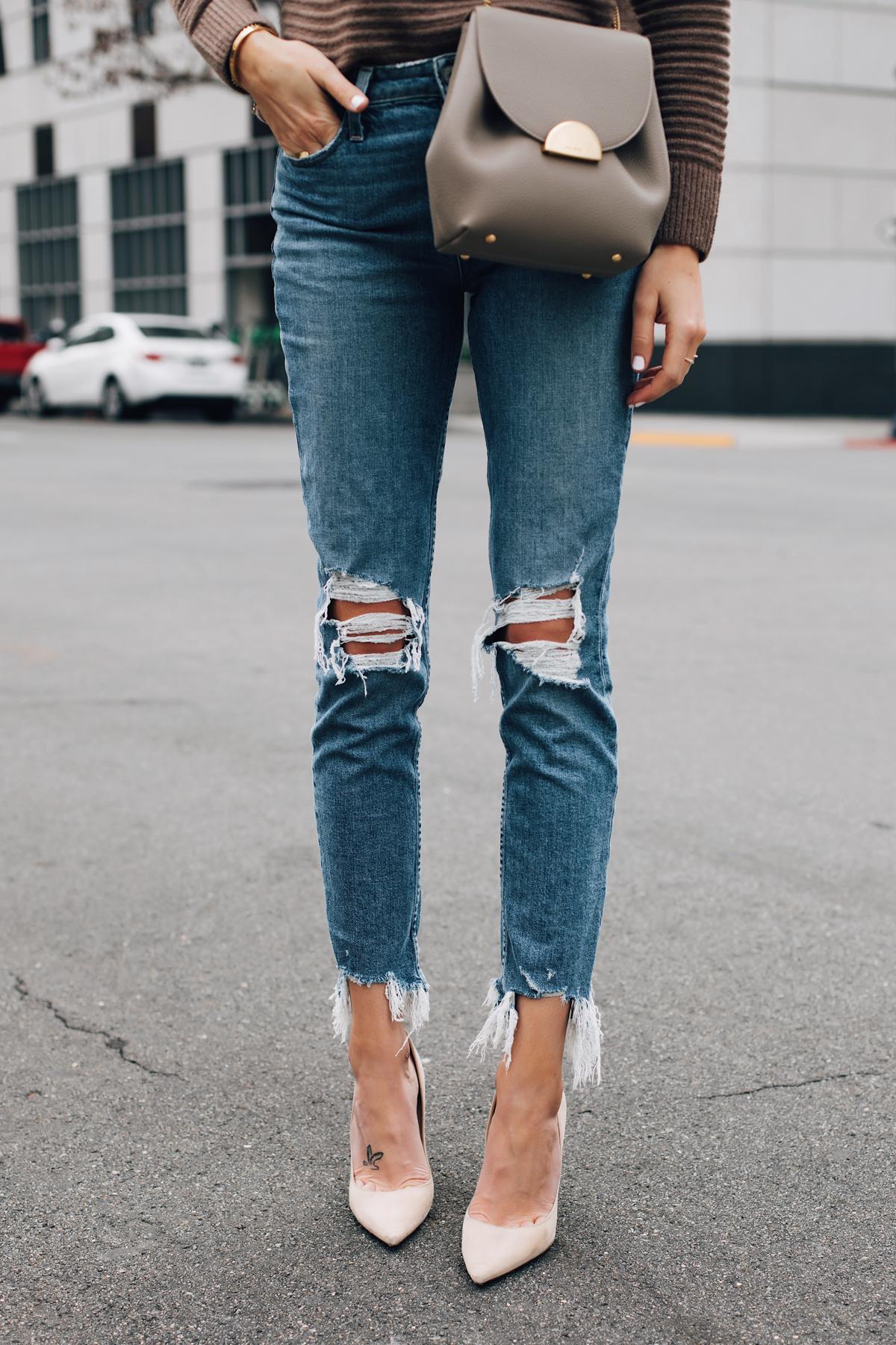 Woman Wearing Paige Ripped Skinny Jeans Nude Pumps Polene Grey Handbag Fashion Jackson San Diego Fashion Blogger Street Style