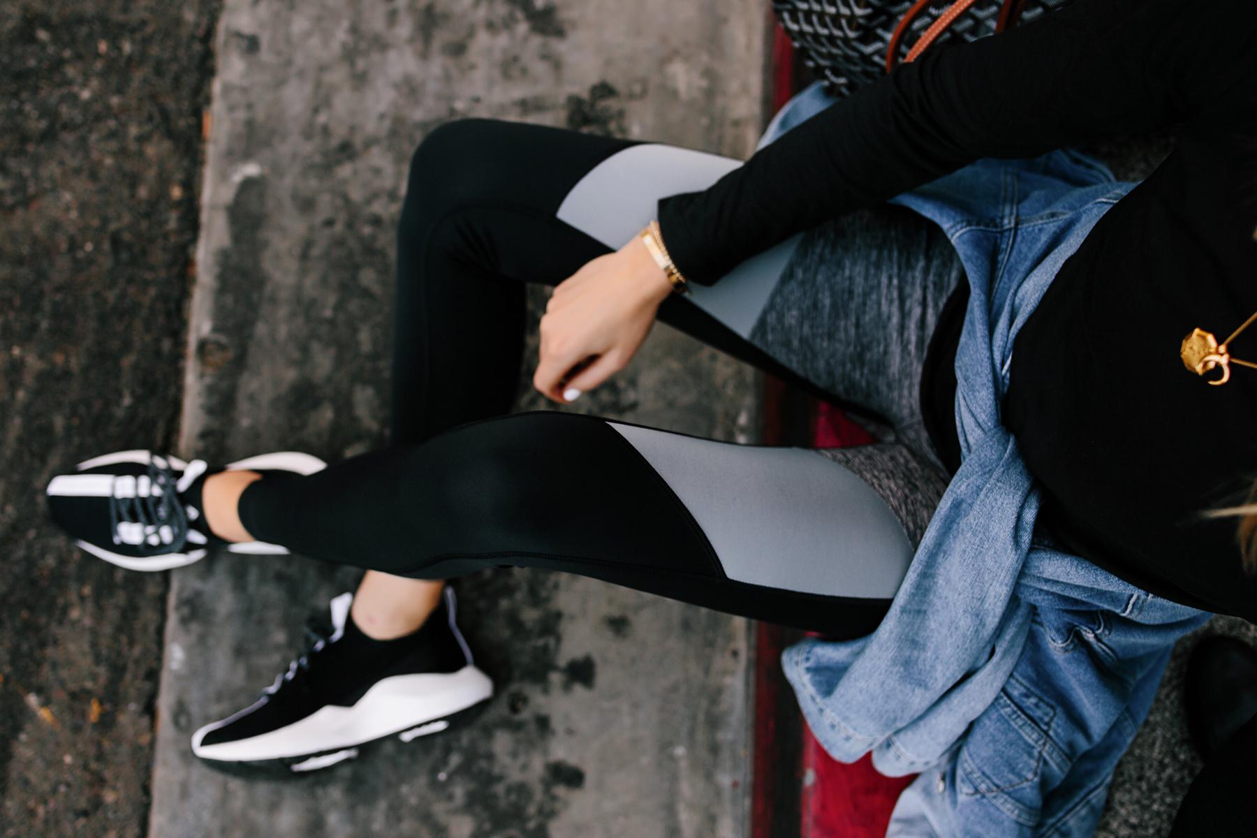 Woman Wearing Reebok Colorblock Leggings Denim Jacket Reebok Sole Fury Black Sneakers Fashion Jackson San Diego Fashion Blogger Athleisure Outfit