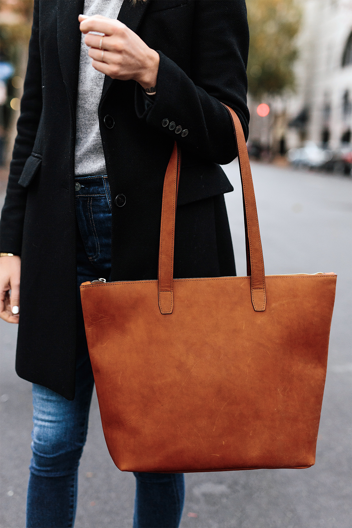 Woman Wearing SLATE Cognac Tote Black Wool Coat Grey Sweater Denim Skinny Jeans Outfit Fashion Jackson San Diego Fashion Blogger Street Style