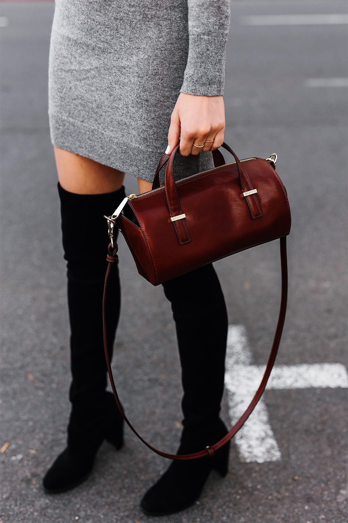 Woman Wearing Stuart Weitzman Black Over the Knee Boots Brahmin Brown Crossbody Handbag Grey Sweater Dress Fashion Jackson San Diego Fashion Blogger Street Style
