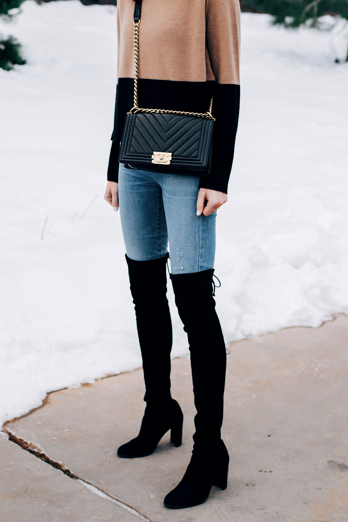 Woman Wearing Tan Black Color Block Sweater Denim Skinny Jeans Stuart Weitzman Black Over the Knee Boots Chanel Black Boy Handbag Fashion Jackson San Diego Fashion Blogger Winter Style