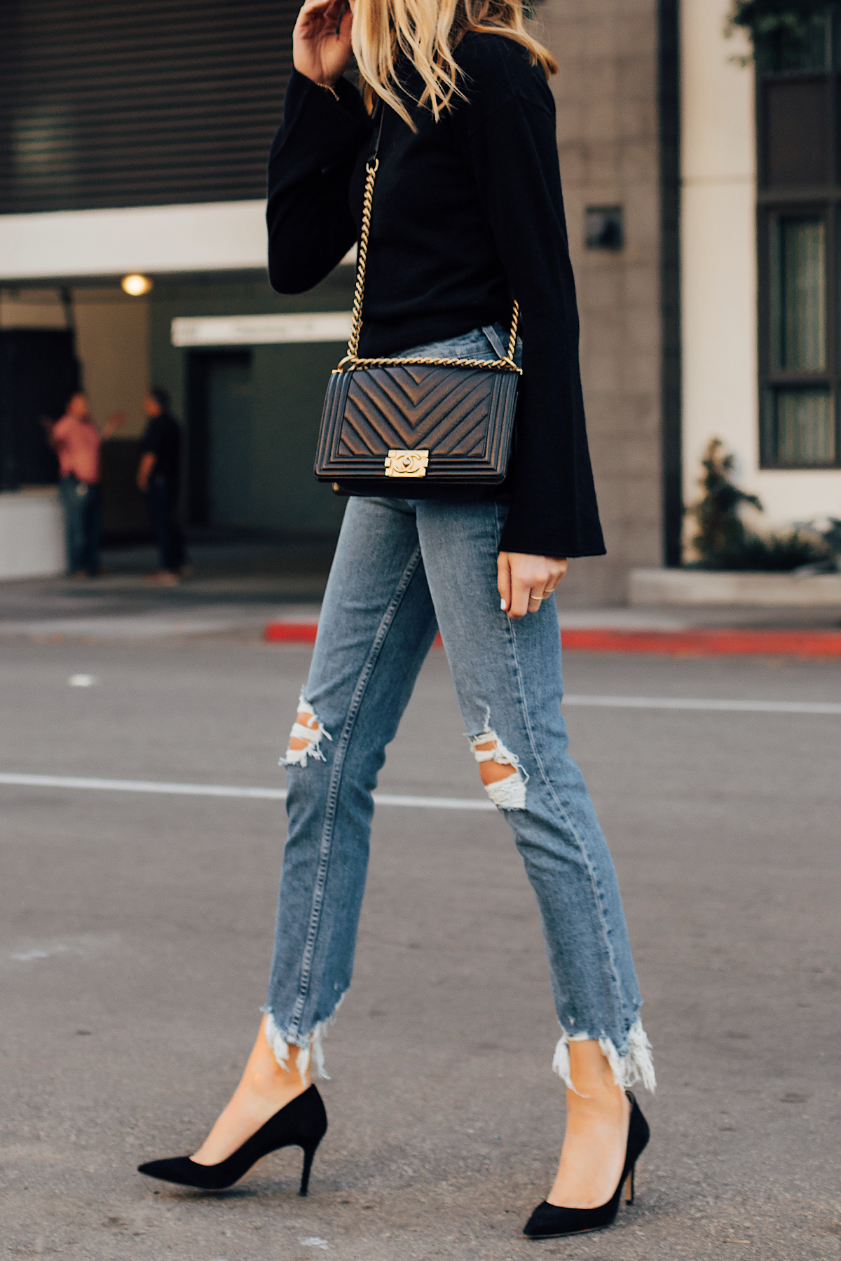 Blonde Woman Wearing Theory Black Sweater Black Ripped Skinny Jeans Black Pumps Chanel Black Boy Bag Fashion Jackson San Diego Fashion Blogger Street Style
