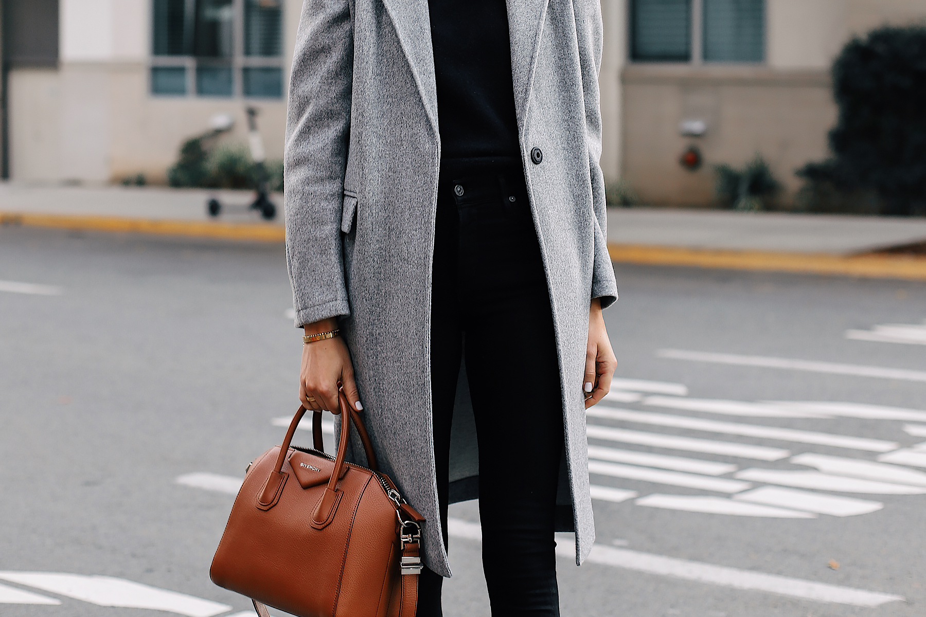 Woman Wearing Topshop Grey Coat Black Skinny Jeans Givenchy Antigona Cognac Handbag Fashion Jackson San Diego Fashion Blogger Street Style