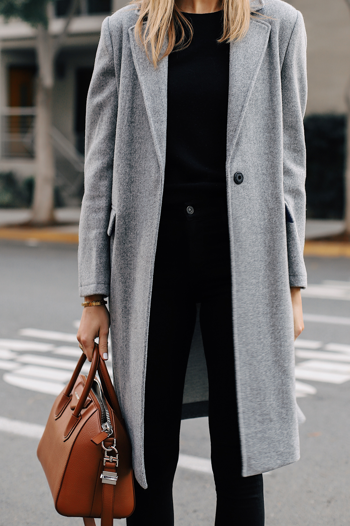 Woman Wearing Topshop Grey Coat Black Sweater Black Skinny Jeans Tan Satchel Handbag Fashion Jackson San Diego Fashion Blogger Street Style