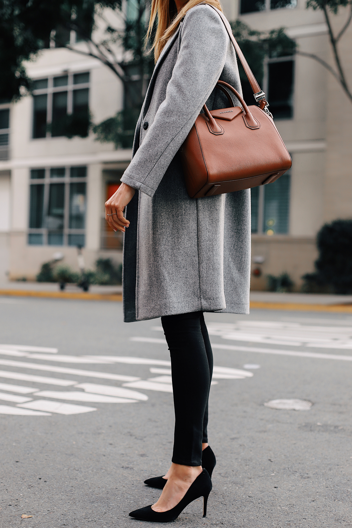 Fashion Jackson Wearing Topshop Grey Wool Coat Black Skinny Jeans Black Pumps Givenchy Antigona Satchel Fashion Jackson San Diego Fashion Blogger Street Style