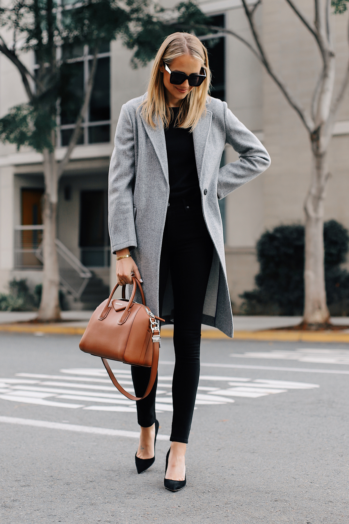 Blonde Woman Wearing Topshop Grey Wool Coat Black Sweater Black Skinny Jeans Black Pumps Givenchy Antigona Satchel Fashion Jackson San Diego Fashion Blogger Street Style