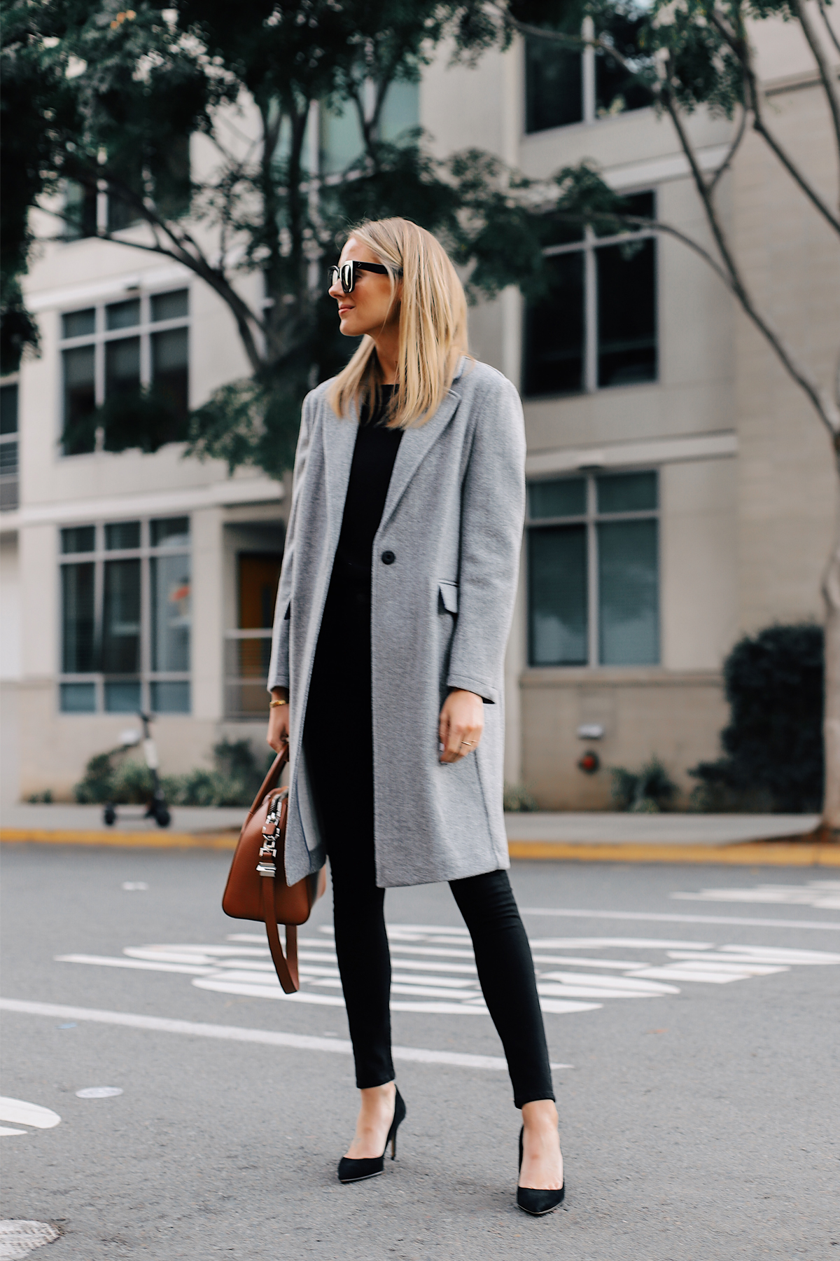 Blonde Woman Wearing Topshop Grey Wool Coat Black Sweater Black Skinny Jeans Black Pumps Fashion Jackson San Diego Fashion Blogger Street Style