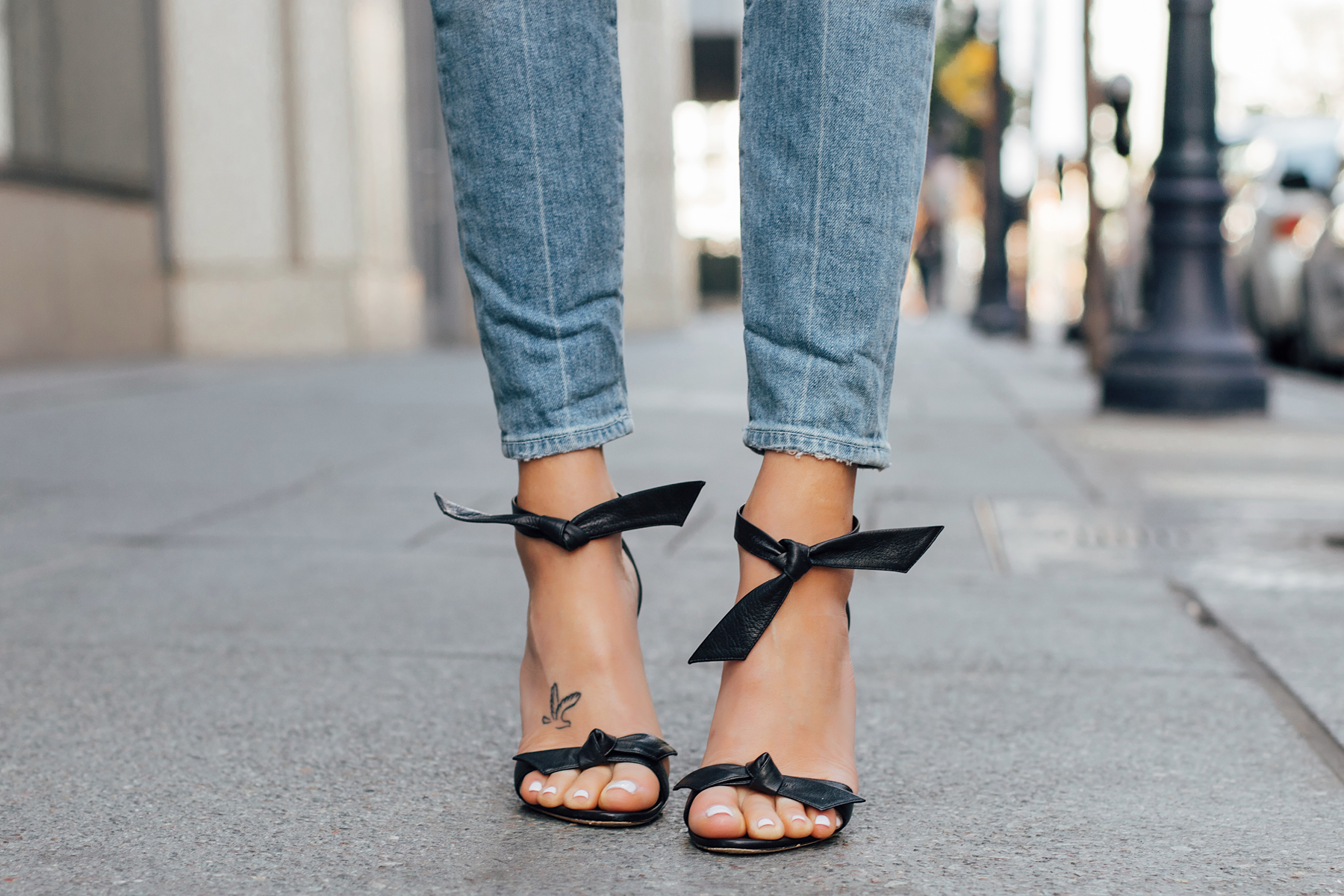 Woman wearing Alexandre Birman Black Clarita Ankle Tie Sandals Fashion Jackson San Diego Fashion Blogger Street Style