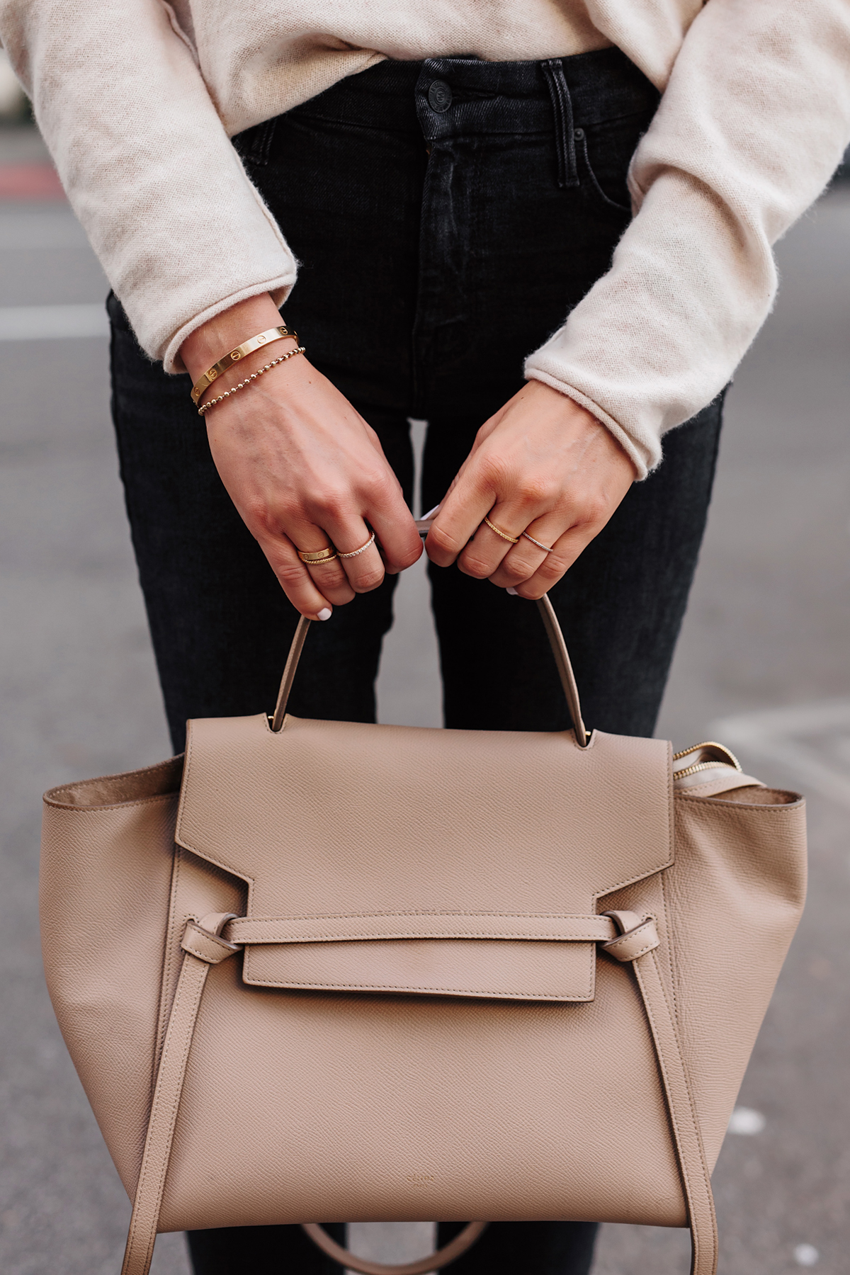 Celine Mini Belt Bag Taupe Dainty Gold Jewelry Fashion Jackson San Diego Fashion Blogger Street Style