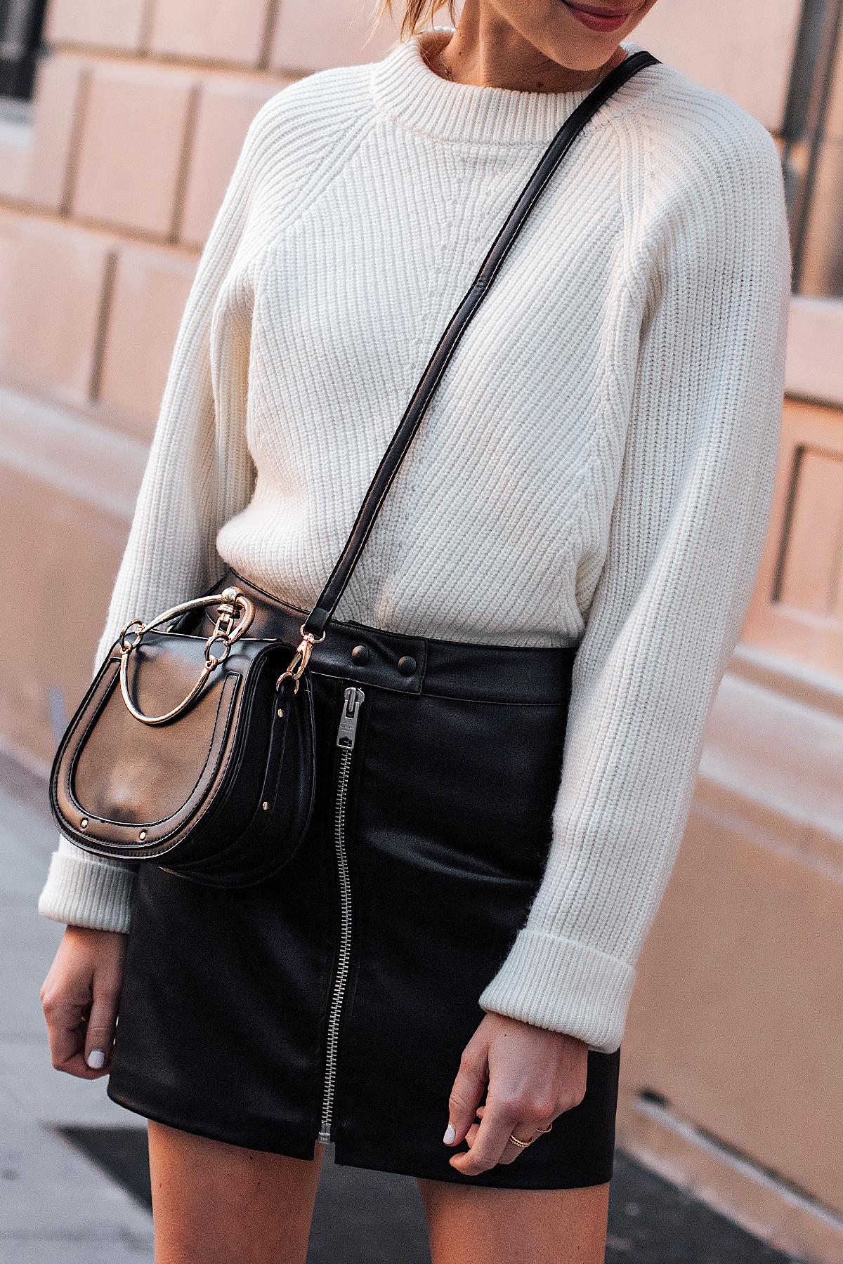 Woman Wearing AllSaints White Sweater Black Faux Leather Mini Skirt Black Chloe Nile Dupe Fashion Jackson San Diego Fashion Blogger Street Style