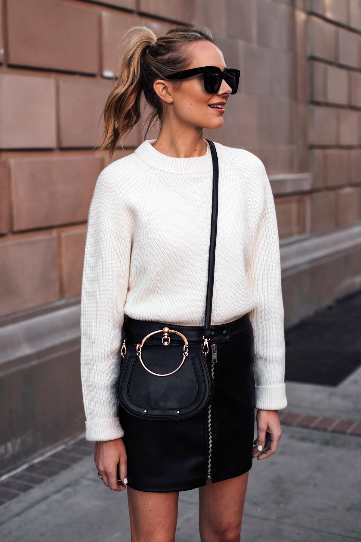 Blonde Woman Wearing AllSaints White Sweater Black Faux Leather Mini Skirt Black Chloe Nile Dupe Fashion Jackson San Diego Fashion Blogger Street Style