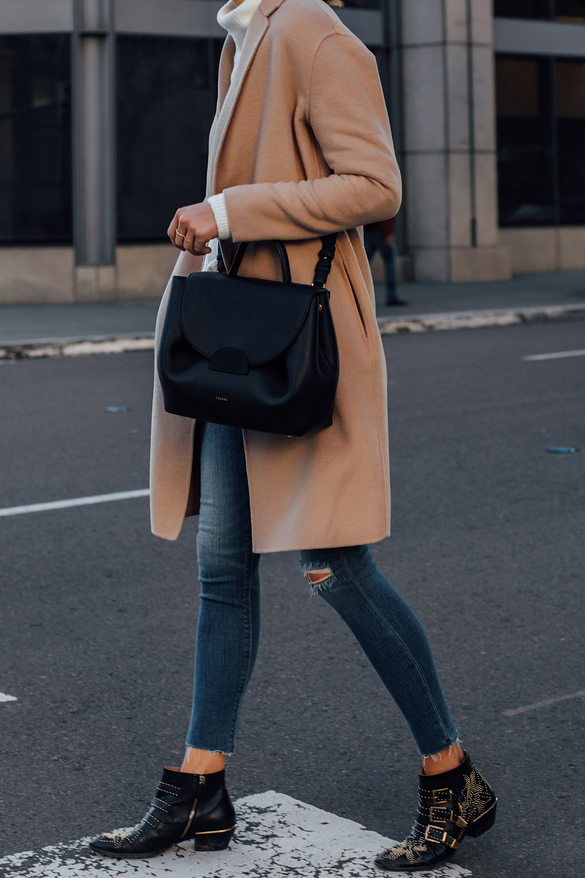 Blonde Woman Wearing AllSaints Camel Coat Denim Skinny Jeans Chloe Susanna Booties Polene Black Handbag Fashion Jackson San Diego Fashion Blogger Street Style