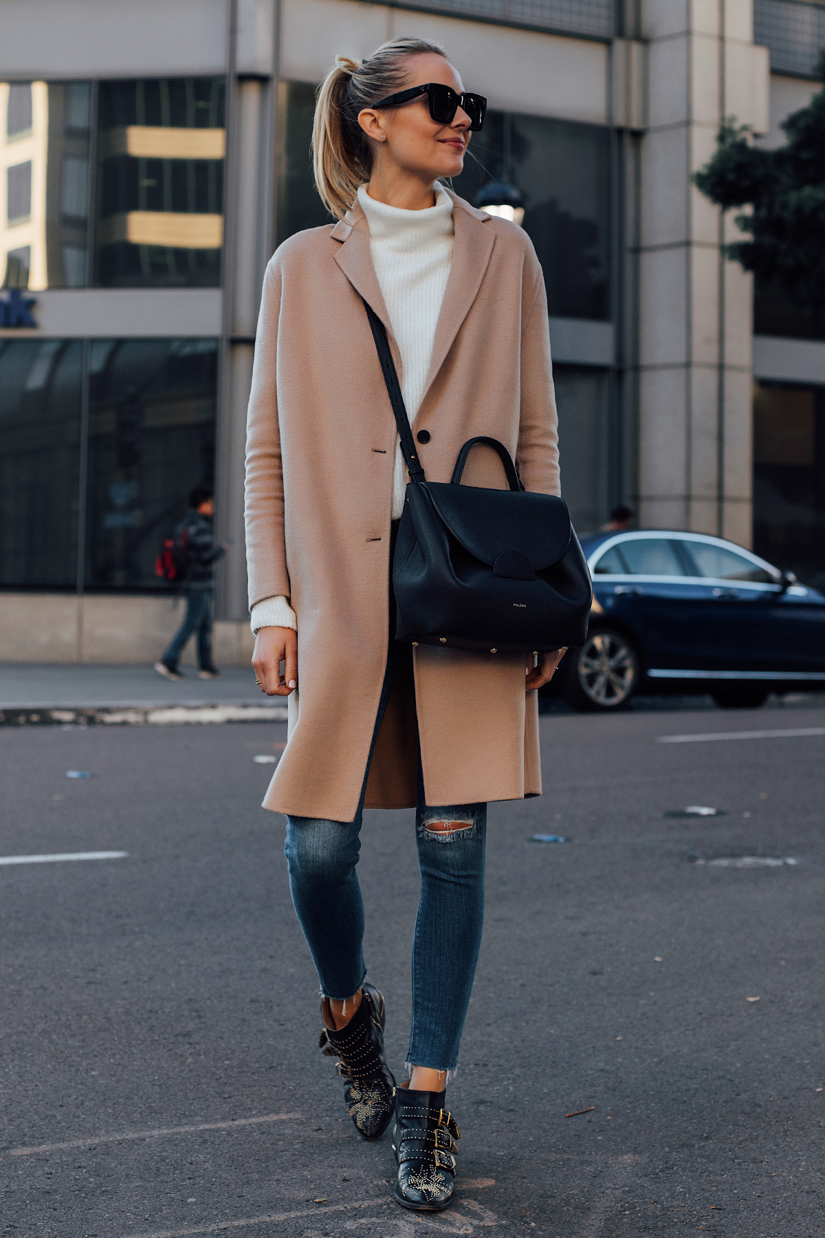 Blonde Woman Wearing AllSaints Camel Coat White Sweater Hudson Ripped Skinny Jeans Chloe Susanna Black Booties Polene Black Handbag Fashion Jackson San Diego Fashion Blogger Street Style