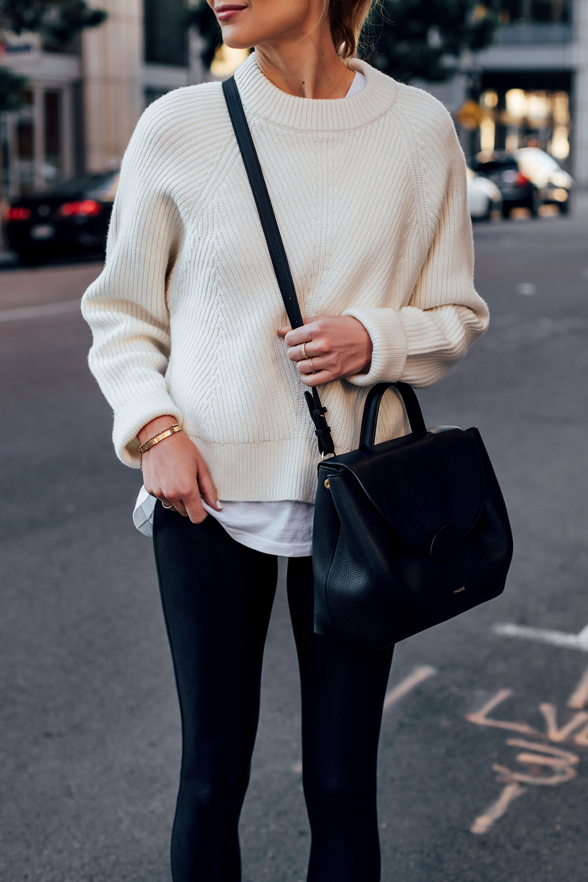 Woman Wearing Allsaints Sylvie White Sweater Black Leggings Polene Paris Black Number One Handbag Fashion Jackson San Diego Fashion Blogger Street Style