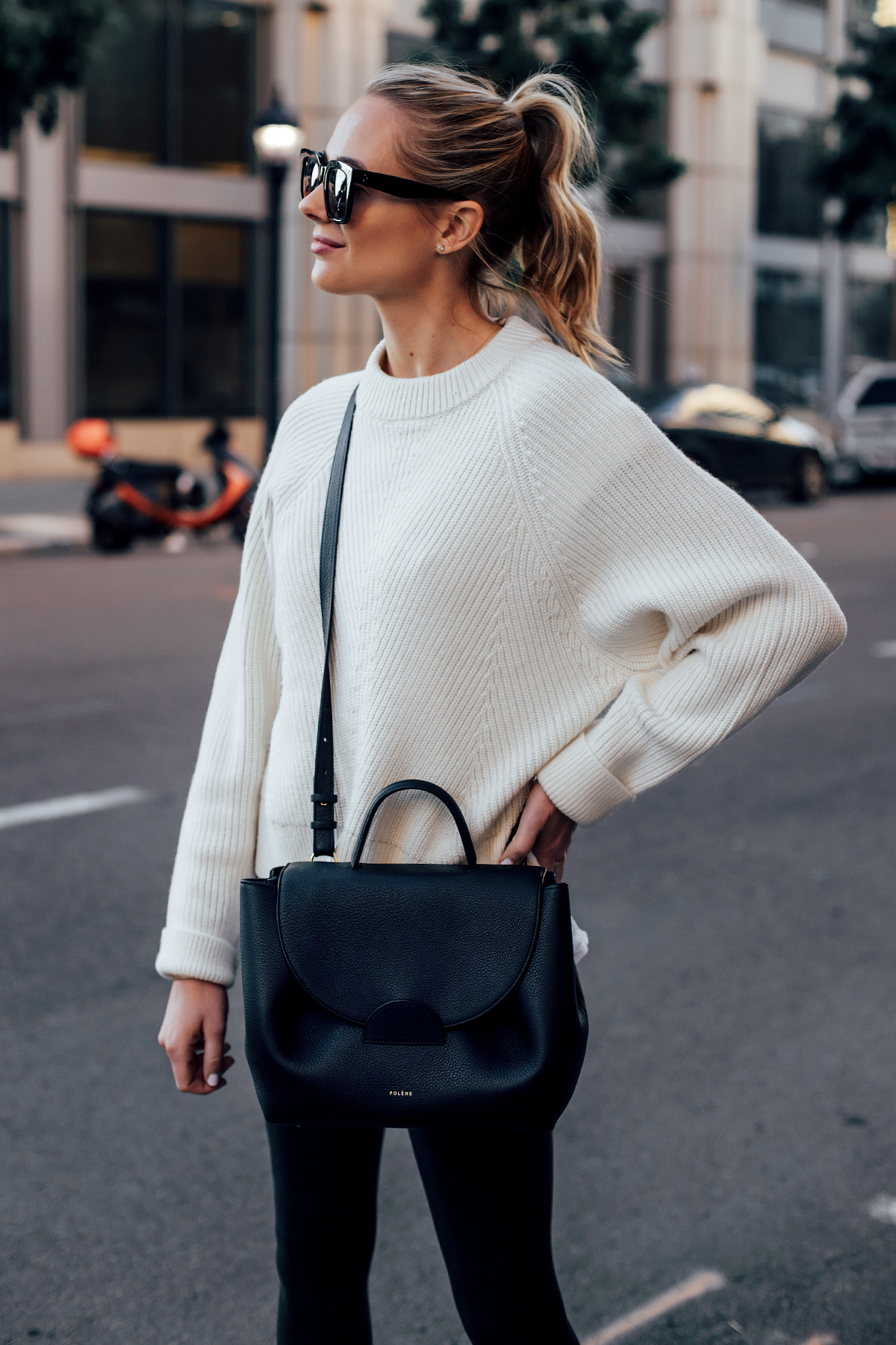 Blonde Woman Wearing Allsaints White Sylvie Sweater Polene Black Number One Handbag Fashion Jackson San Diego Fashion Blogger Street Style