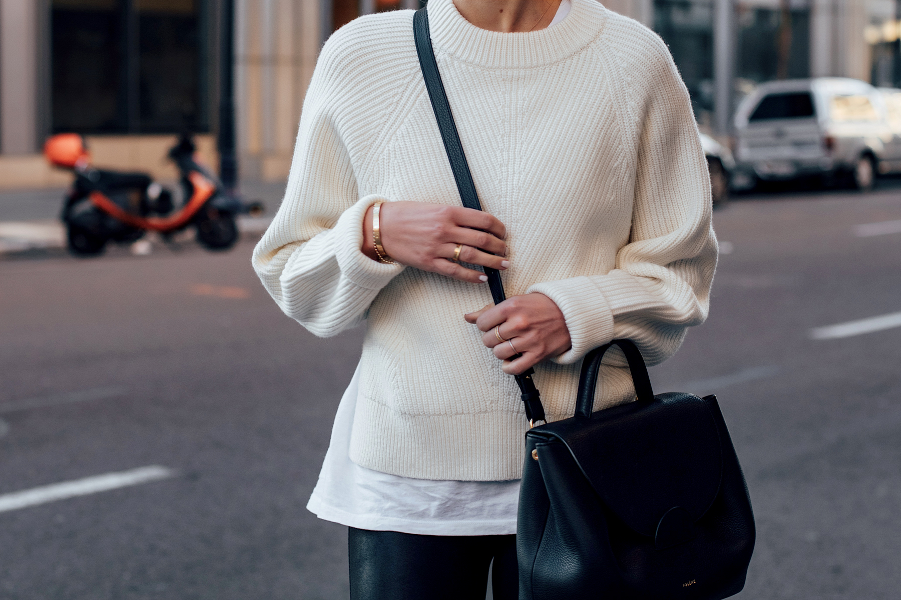 Woman Wearing Allsaints White Sylvie Sweater White Tshirt Black Leggings Polene Paris Black Number One Handbag Fashion Jackson San Diego Fashion Blogger Street Style