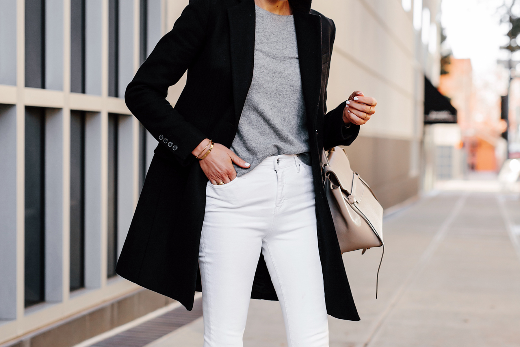 Woman Wearing Black Wool Coat Grey Sweater White Skinny Jeans Celine Mini Belt Bag Fashion Jackson San Diego Fashion Blogger Street Style
