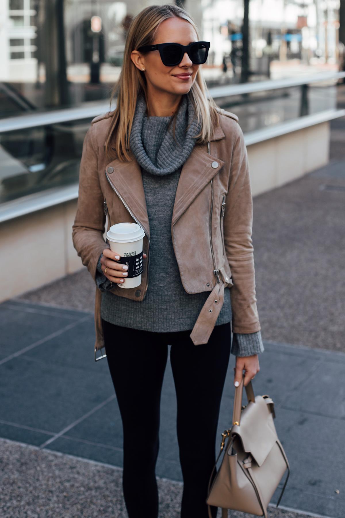 Blonde Woman Wearing Blanknyc Tan Suede Moto Jacket Grey Turtleneck Sweater Black Leggings Celine Mini Belt Bag Fashion Jackson San Diego Fashion Blogger Street Style