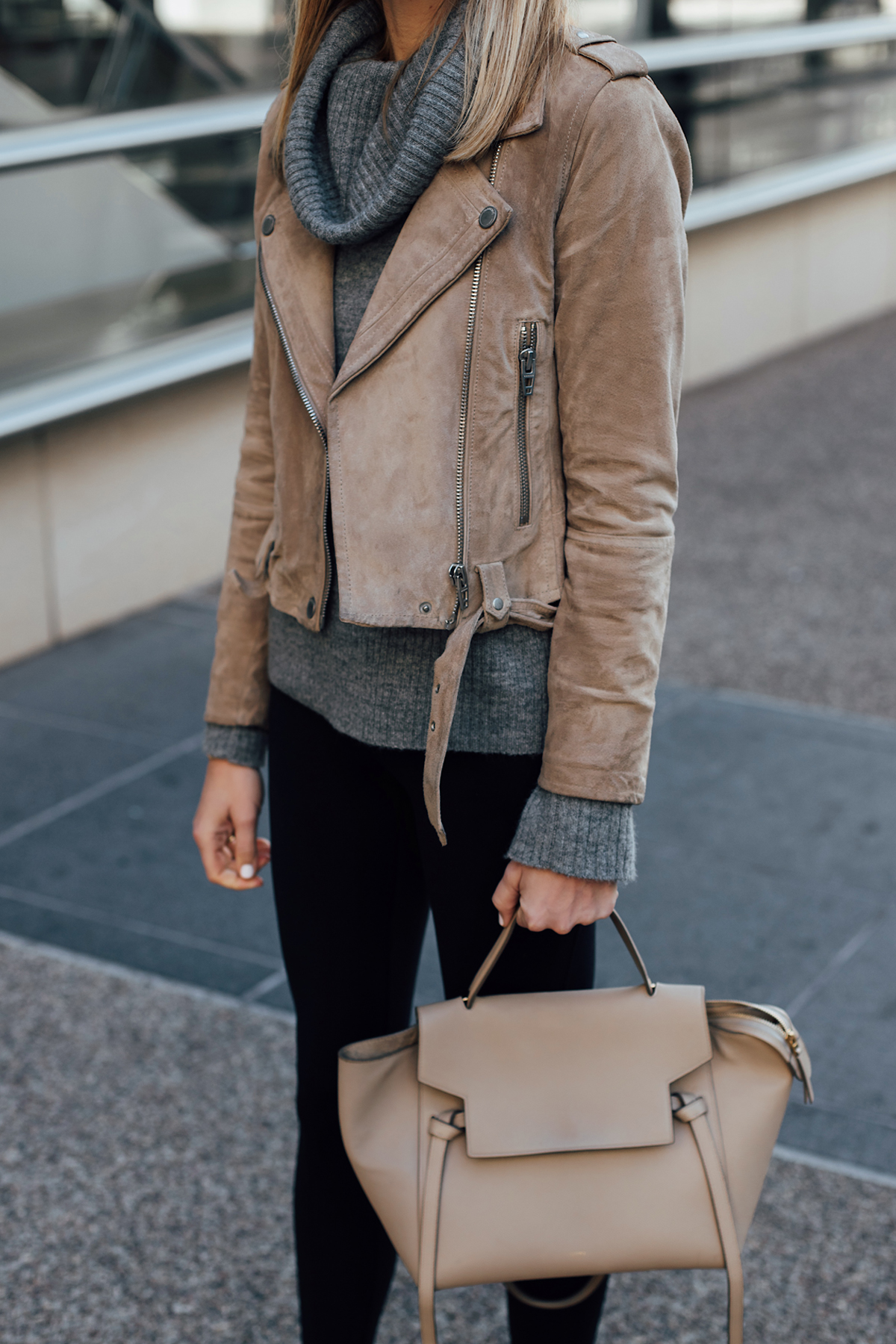 Woman Wearing Blanknyc Tan Suede Moto Jacket Grey Turtleneck Sweater Black Leggings Celine Mini Belt Bag Fashion Jackson San Diego Fashion Blogger Street Style