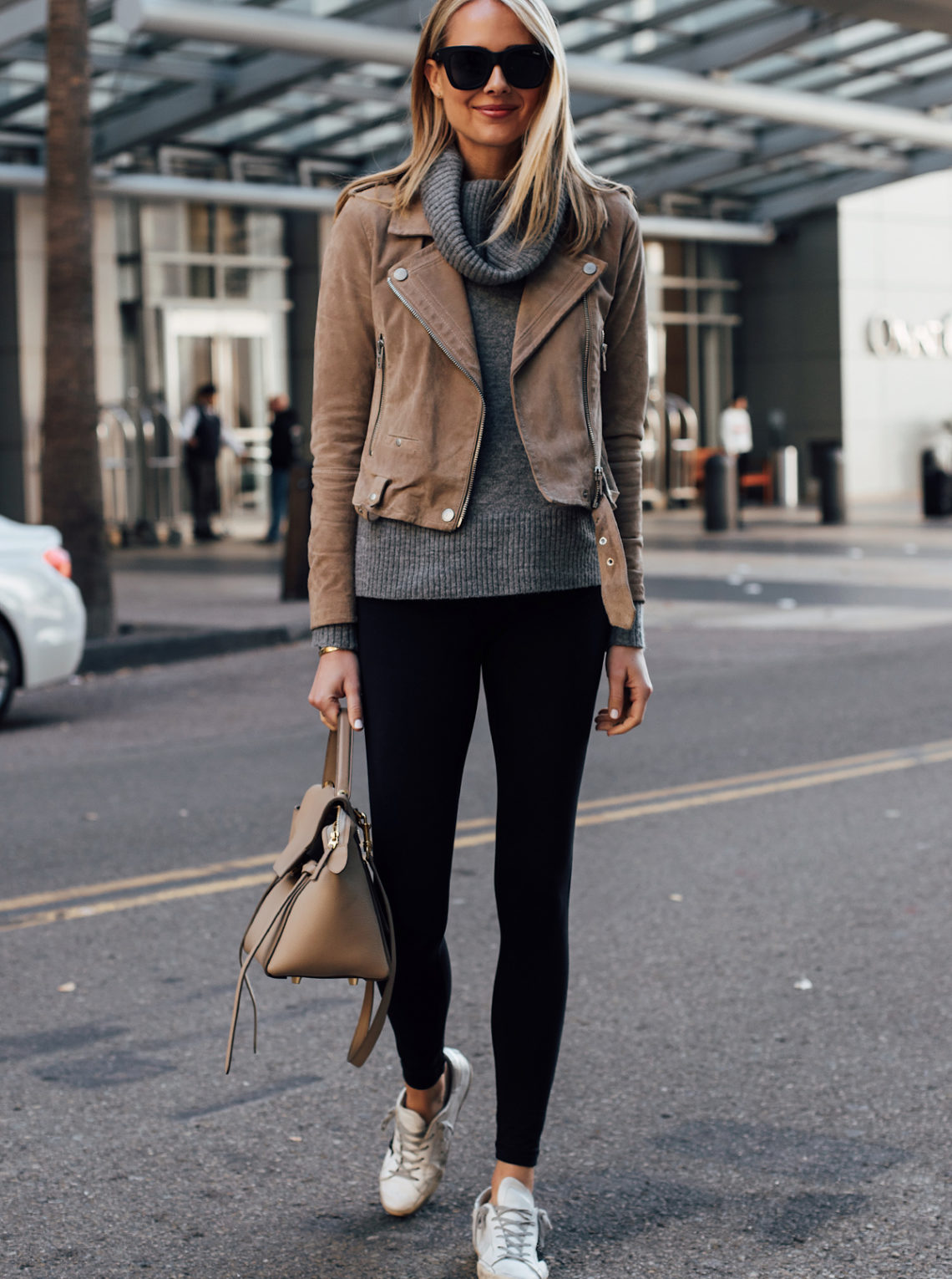 Blonde Woman Wearing Blanknyc Tan Suede Moto Jacket Grey Turtleneck Sweater Black Leggings Golden Goose Sneakers Celine Mini Belt Bag Fashion Jackson San Diego Fashion Blogger Street Style