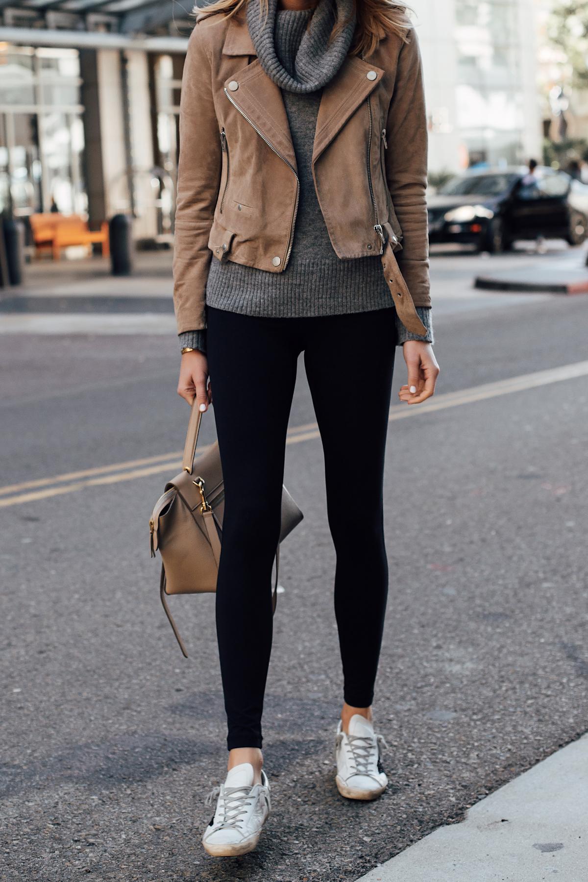 Woman Wearing Blanknyc Tan Suede Moto Jacket Grey Turtleneck Sweater Black Leggings Golden Goose Sneakers Celine Mini Belt Bag Fashion Jackson San Diego Fashion Blogger Street Style