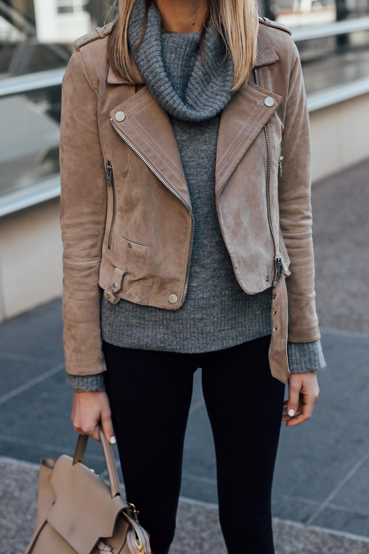 Blonde Woman Wearing Blanknyc Tan Suede Moto Jacket Grey Turtleneck Sweater Black Leggings Fashion Jackson San Diego Fashion Blogger Street Style