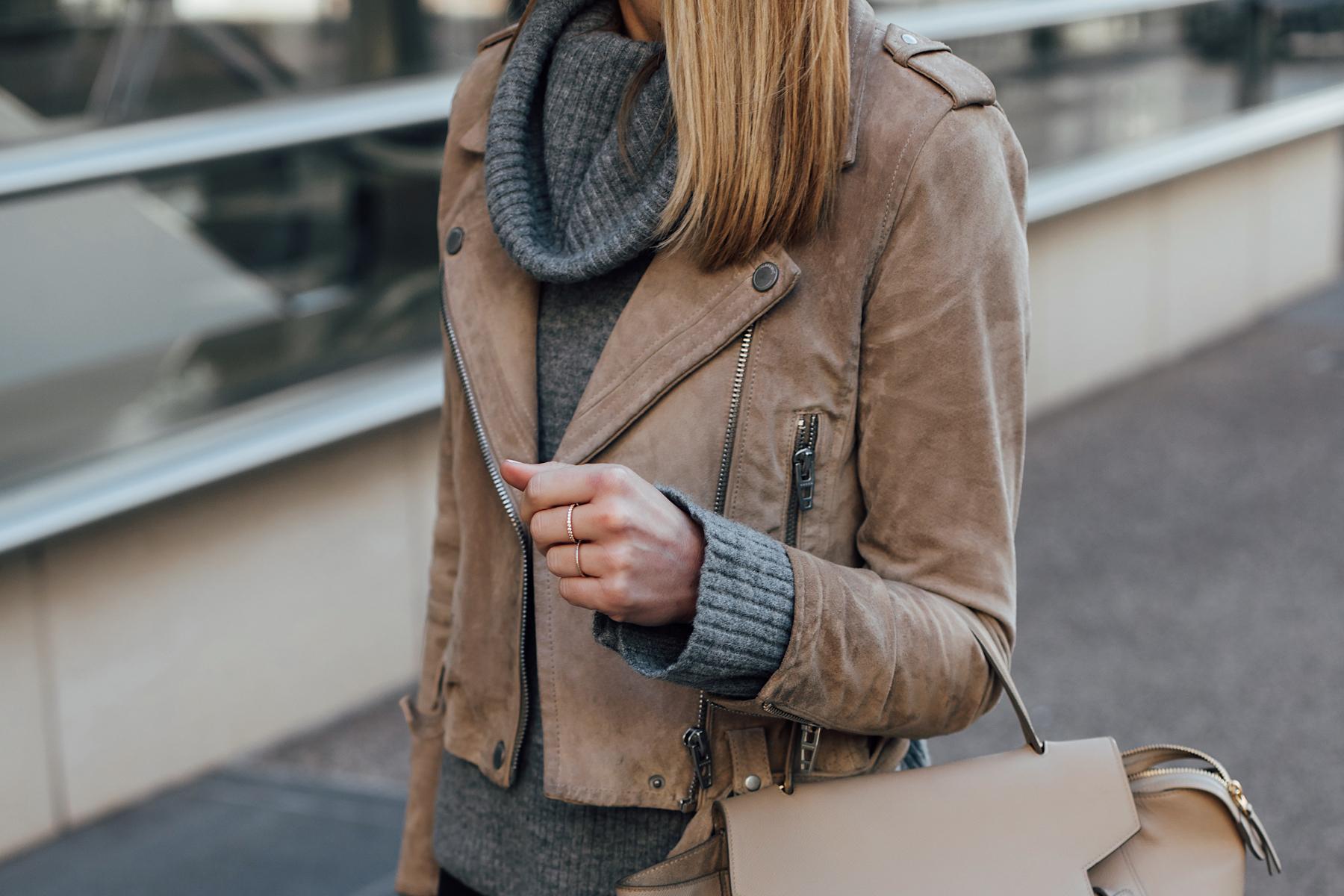 Blonde Woman Wearing Blanknyc Tan Suede Moto Jacket Grey Turtleneck Sweater Fashion Jackson San Diego Fashion Blogger Street Style