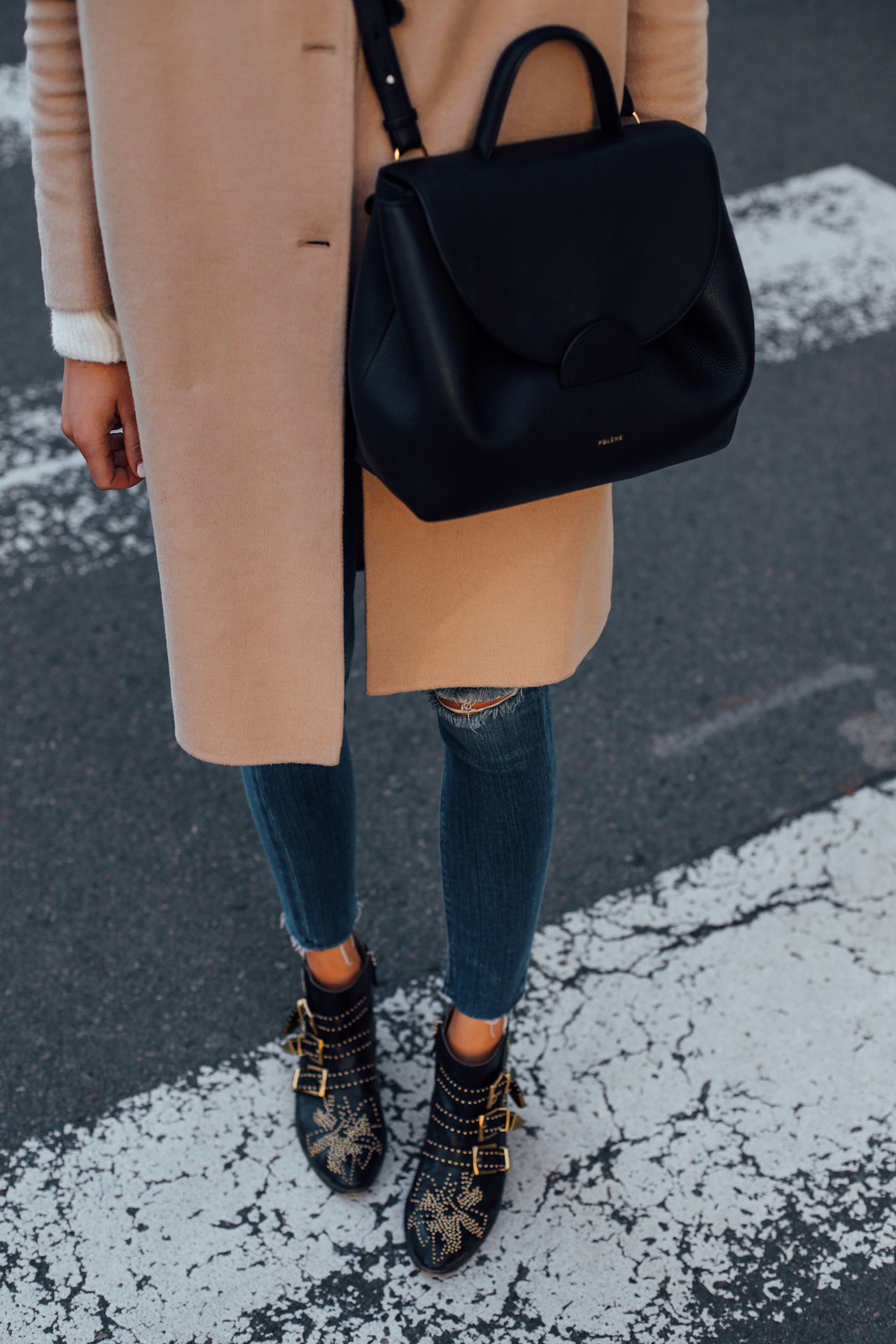 Woman Wearing Camel Coat Denim Skinny Jeans Chloe Susanna Booties Polene Black Handbag Fashion Jackson San Diego Fashion Blogger Street Style