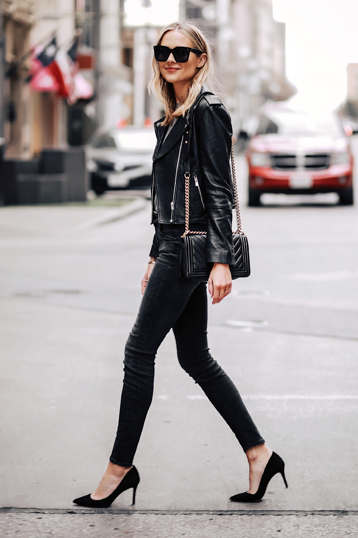 Blonde Woman Wearing Club Monaco Black Leather Jacket Black Skinny Jeans Black Pumps Chanel Black Boy Bag Fashion Jackson San Diego Fashion Blogger Street Style