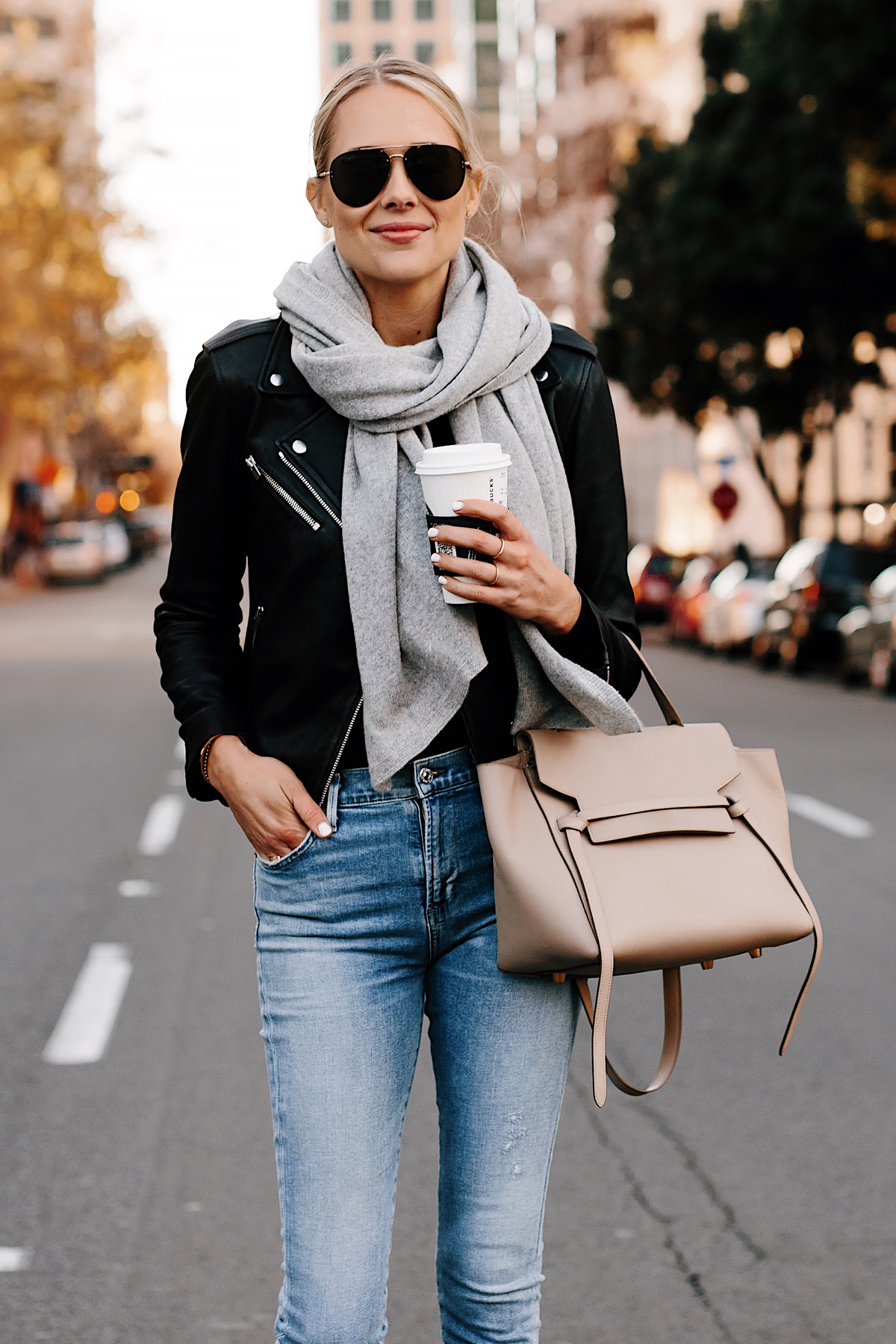 Blonde Woman Wearing Club Monaco Black Leather Jacket Grey Scarf Denim Skinny Jeans Celine Mini Belt Bag Fashion Jackson San Diego Fashion Blogger Street Style