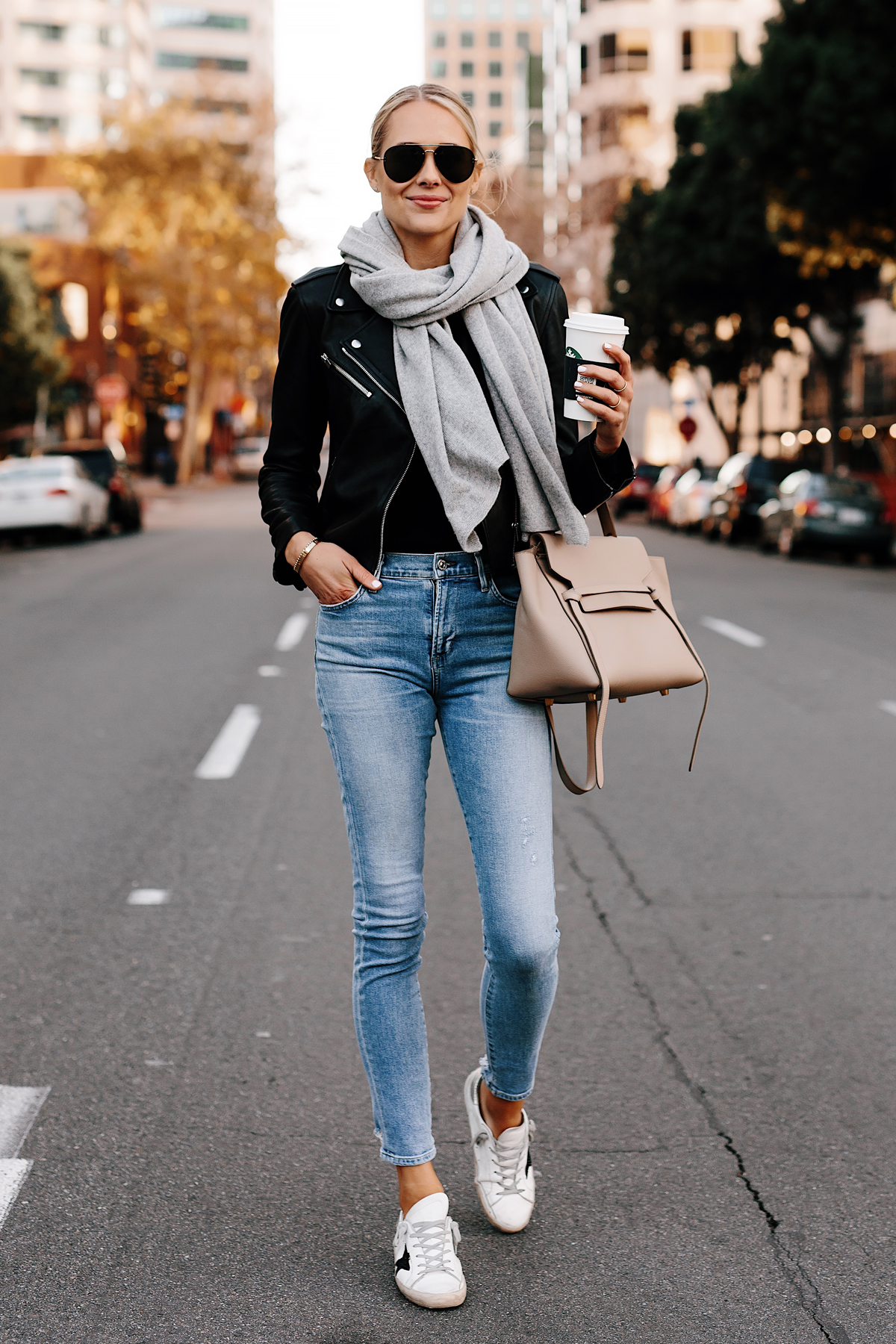 Blonde Woman Wearing Club Monaco Black Leather Jacket Grey Scarf Denim Skinny Jeans Golden Goose Sneakers Celine Mini Belt Bag Fashion Jackson San Diego Fashion Blogger Street Style