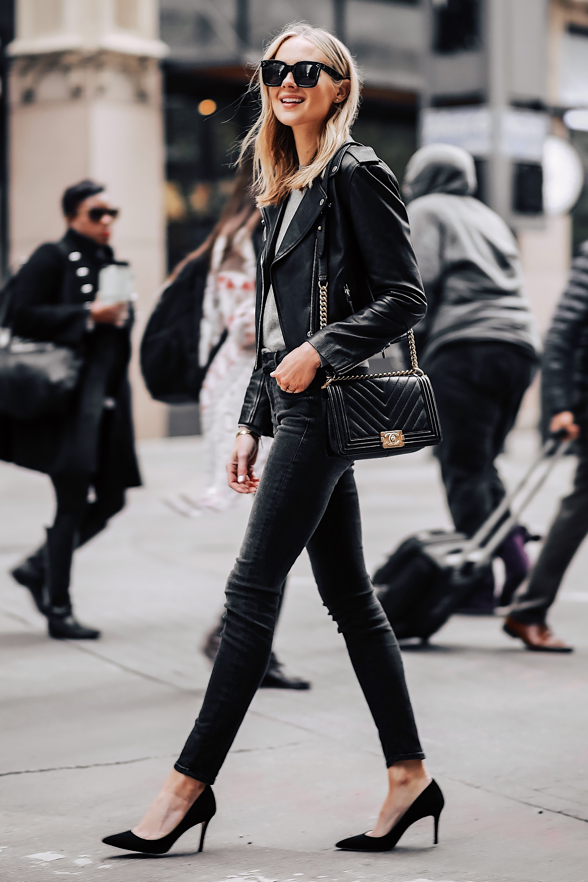 Blonde Woman Wearing Club Monaco Black Leather Jacket Grey Sweater Black Skinny Jeans Black Pumps Chanel Black Boy Bag Fashion Jackson San Diego Fashion Blogger Street Style