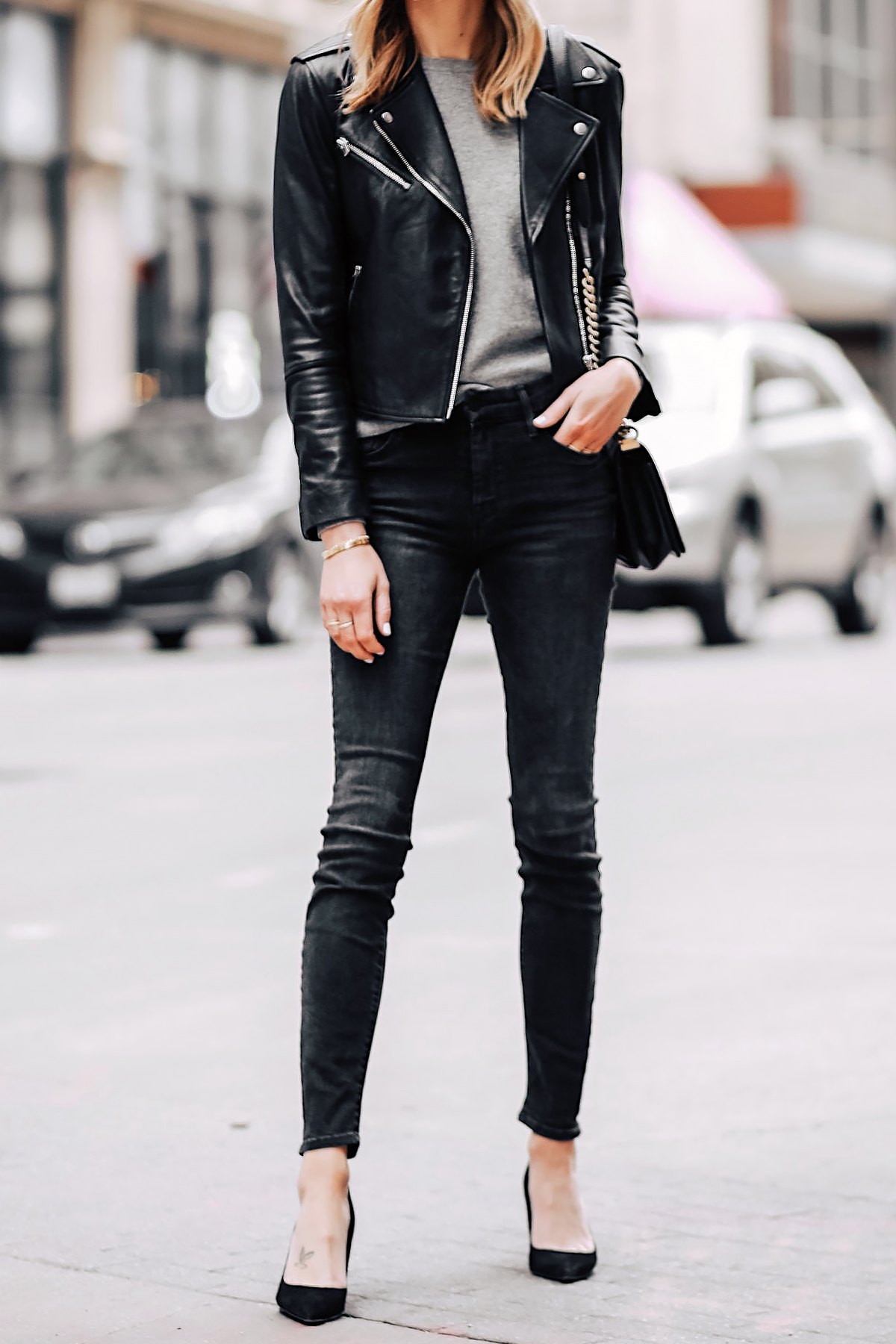 Blonde Woman Wearing Club Monaco Black Leather Jacket Grey Sweater Black Skinny Jeans Black Pumps Fashion Jackson San Diego Fashion Blogger Street Style