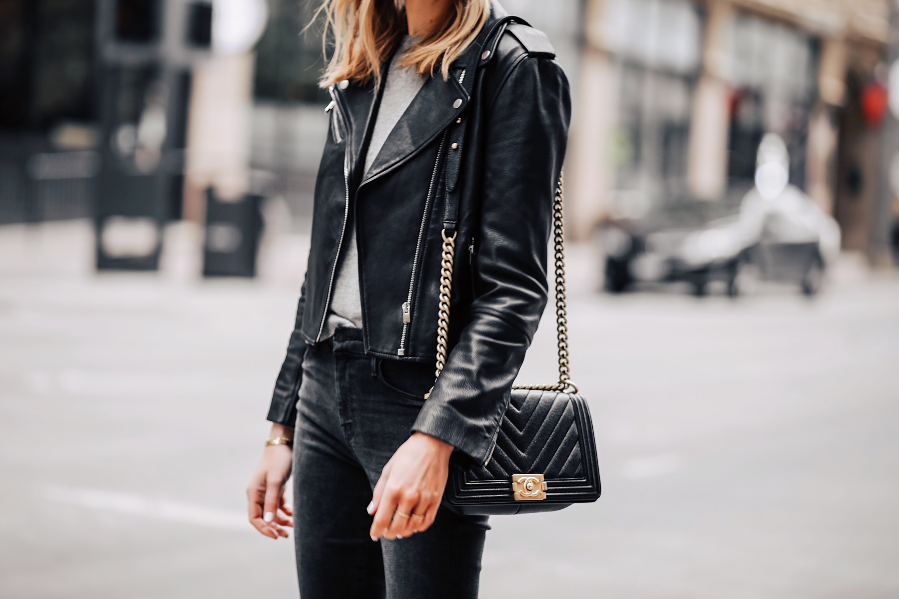 Blonde Woman Wearing Club Monaco Black Leather Jacket Grey Sweater Black Skinny Jeans Chanel Black Boy Bag Fashion Jackson San Diego Fashion Blogger Street Style