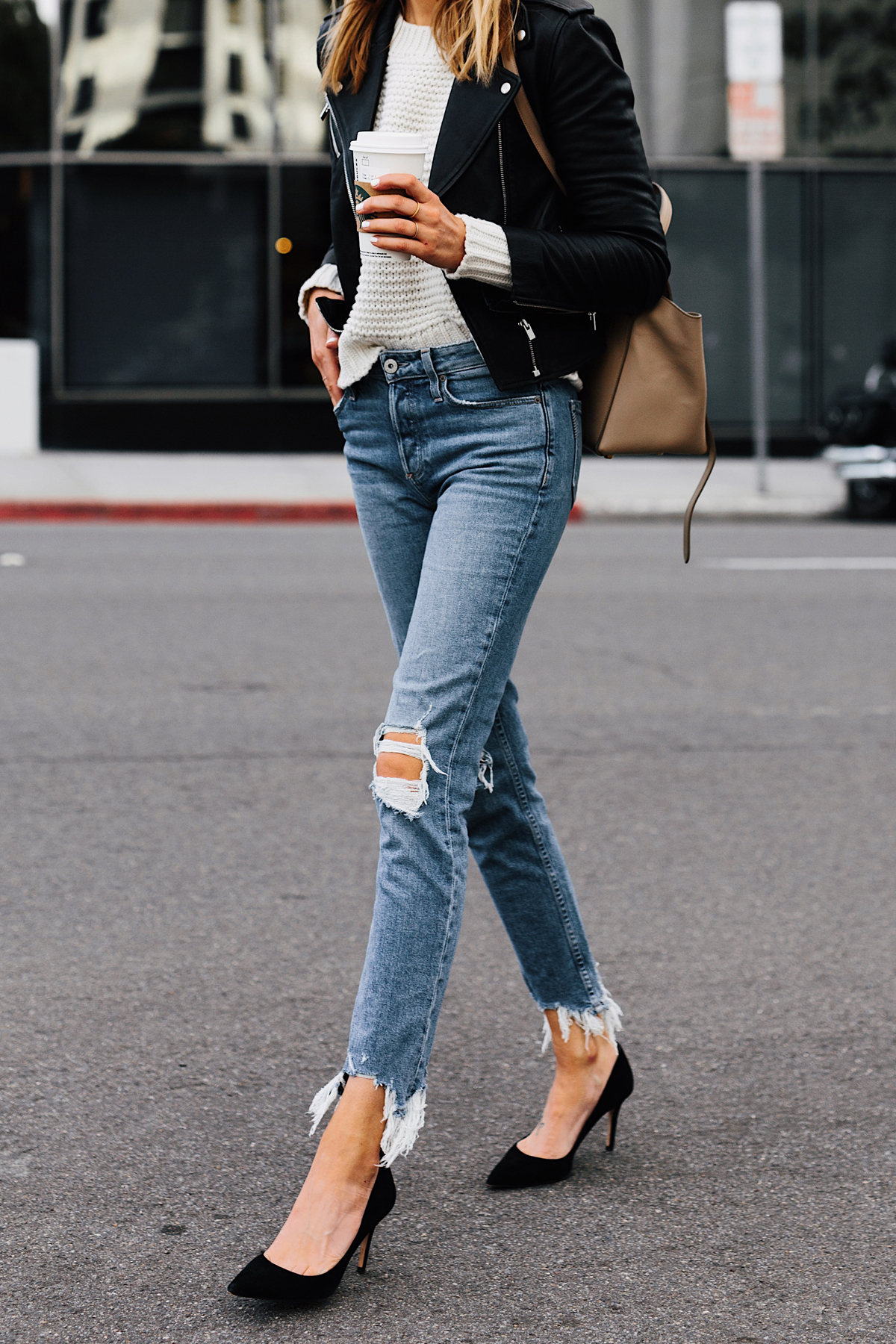Woman Wearing Club Monaco Black Leather Jacket Ivory Chunky Sweater Paige Ripped Jeans Black Pumps Fashion Jackson San Diego Fashion Blogger Street Style