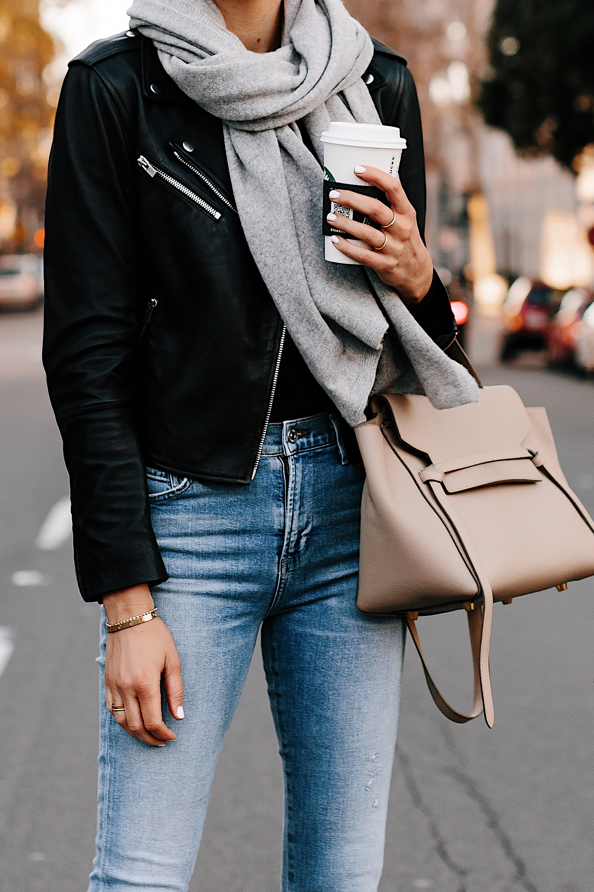 Woman Wearing Club Monaco Black Leather Jacket Grey Scarf Denim Skinny Jeans Celine Mini Belt Bag Fashion Jackson San Diego Fashion Blogger Street Style