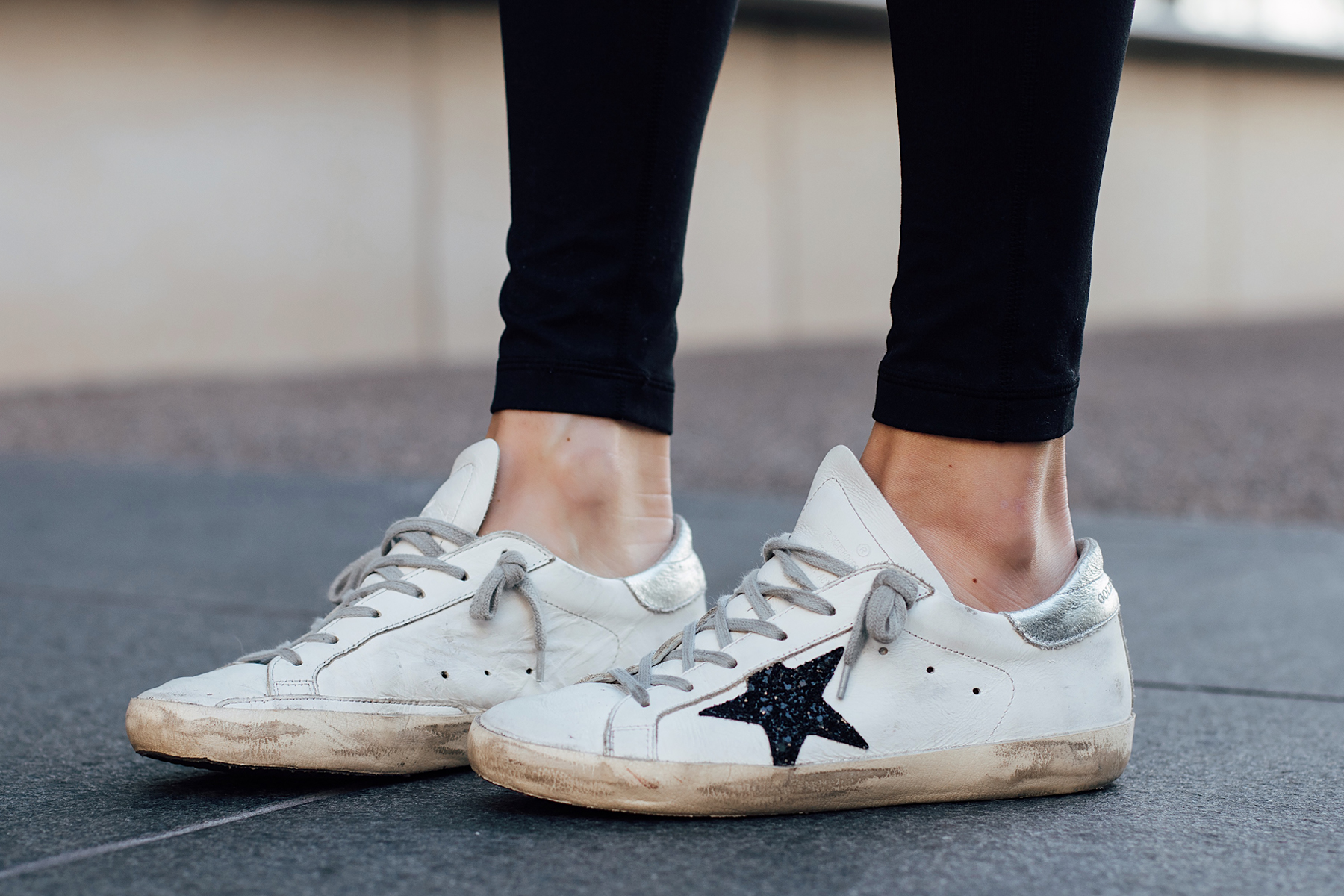 Woman Wearing Golden Goose Sneakers Fashion Jackson San Diego Fashion Blogger Street Style