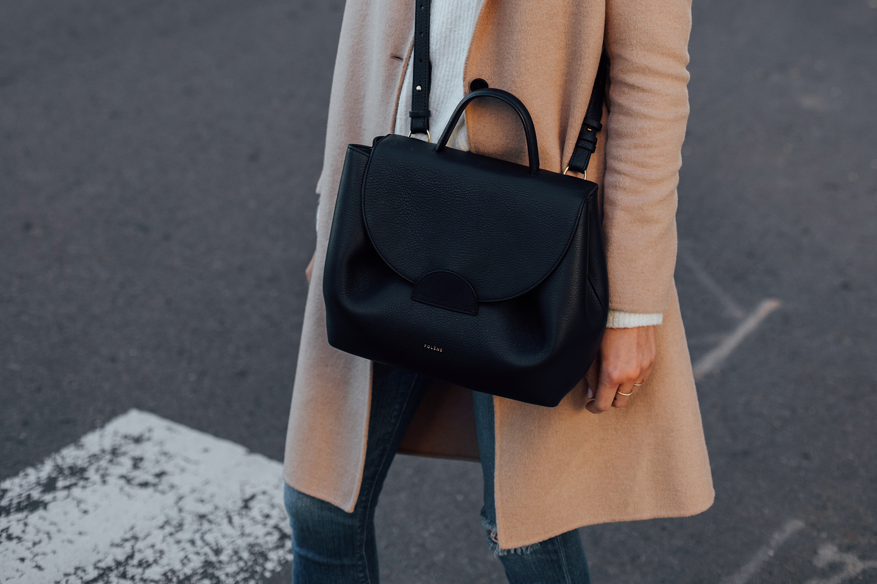 Woman Wearing Polene Black Handbag Camel Coat White Sweater Skinny Jeans Fashion Jackson San Diego Fashion Blogger Street Style