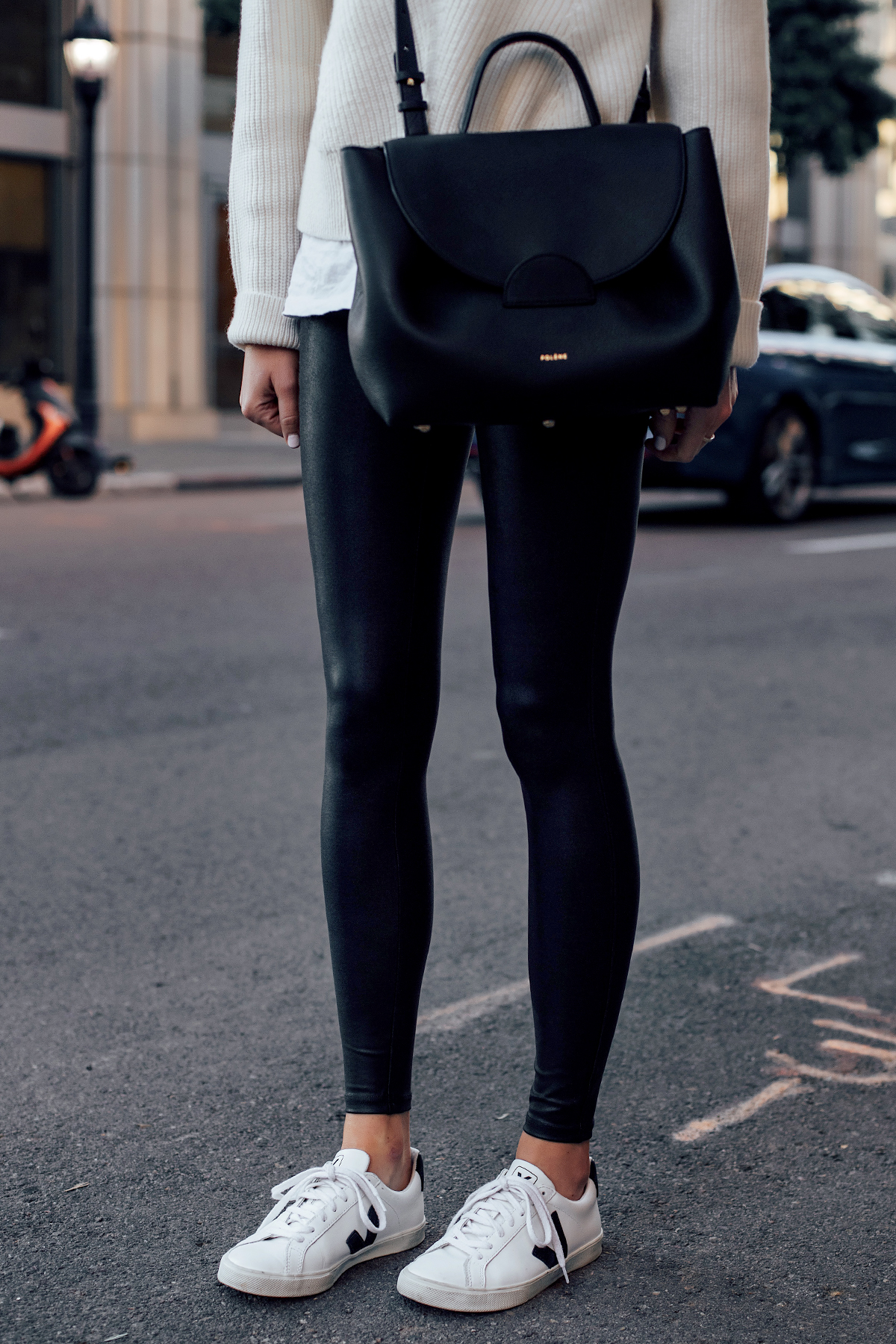 Woman Wearing Spanx Black Faux Leather Leggings Veja Espalar White Sneakers Polene Paris Black Number One Handbag Fashion Jackson San Diego Fashion Blogger Street Style