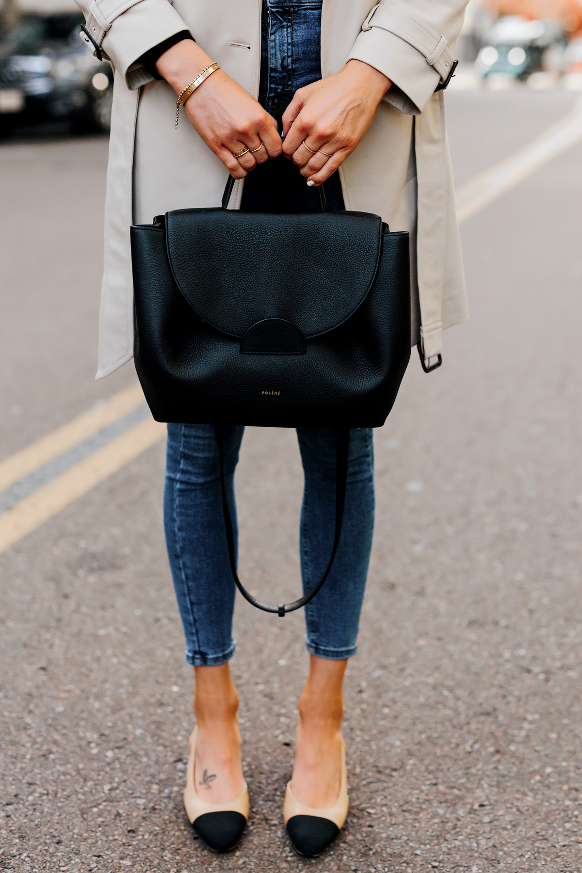 Woman Holding Polene Number One Handbag Monochrome Black Fashion Jackson San Diego Fashion Blogger Street Style
